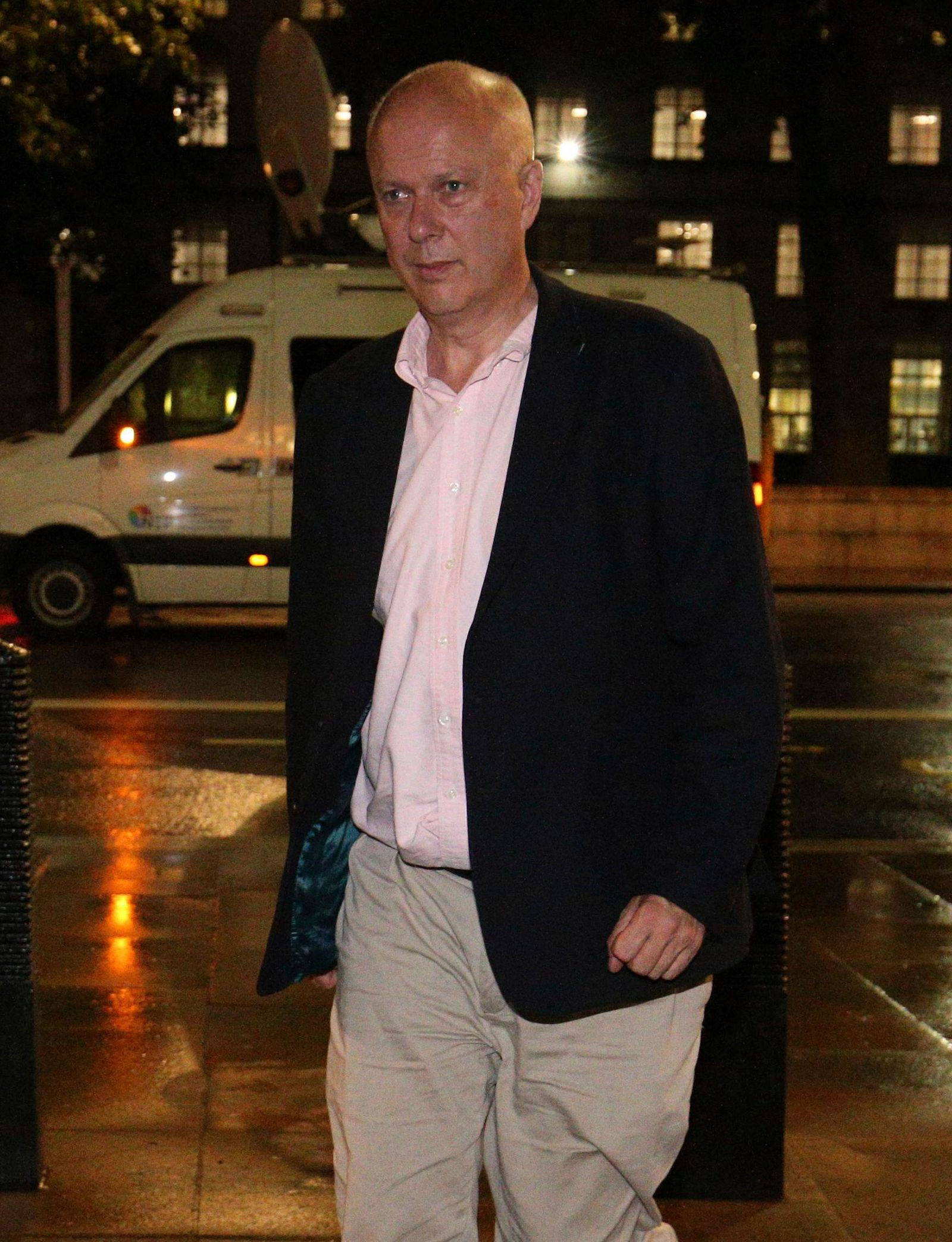 Britain's Transport Secretary Chris Grayling arrives at the Cabinet Office in Whitehall, London, Friday, July 19, 2019, ahead of an emergency Cobra meeting which has been called after the British oil tanker Stena Impero was seized in the Strait of Hormuz. The seizing of the British tanker marked perhaps the most significant escalation since tensions between Iran and the West began rising in May. (Jonathan Brady/PA via AP)