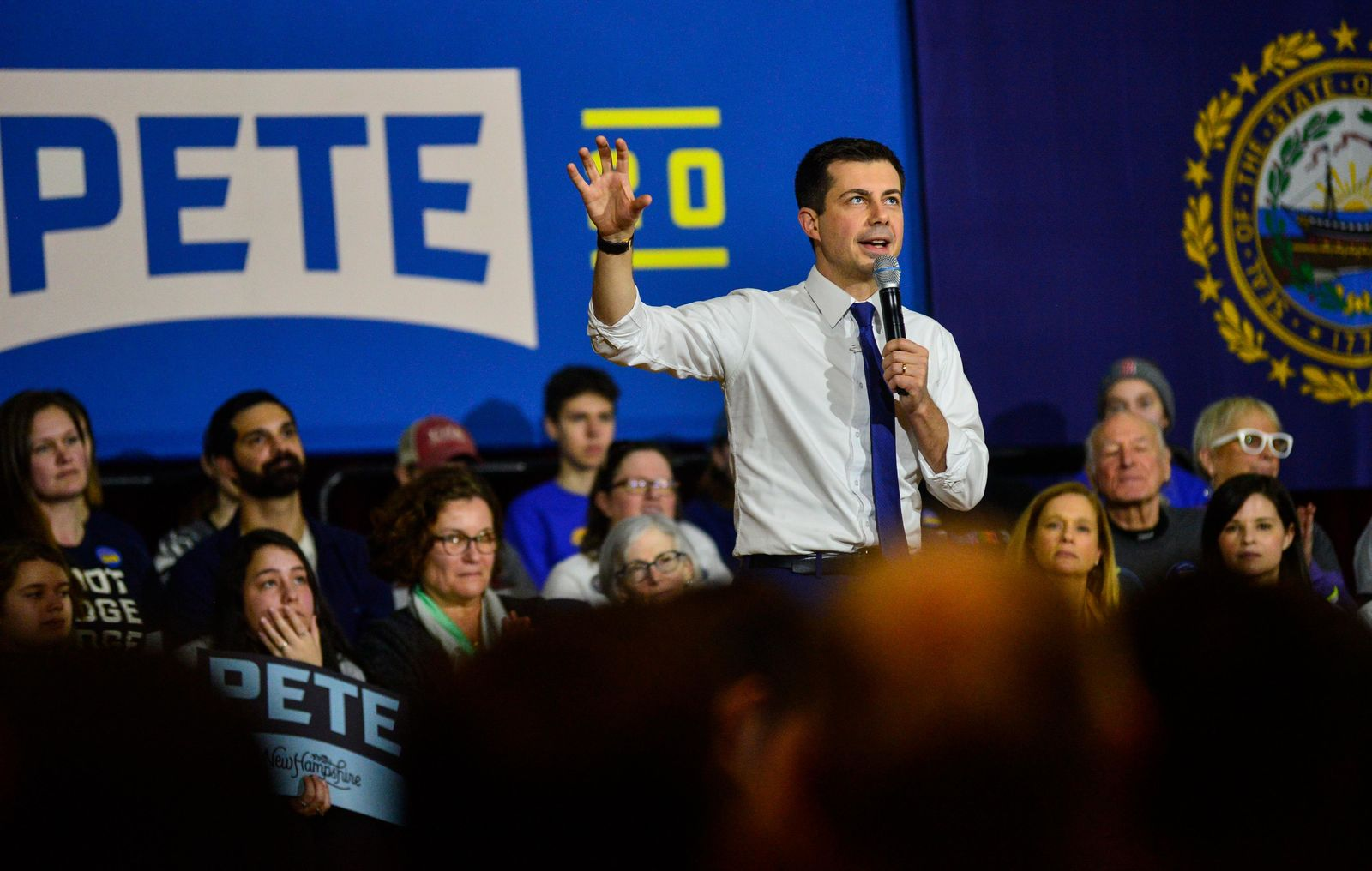 Democratic presidential candidate former South Bend, Ind., Mayor Pete Buttigieg holds a town hall meeting at Keene State College, in Keene, N.H., on Saturday, Feb. 8, 2020. (Kristopher Radder /The Brattleboro Reformer via AP)