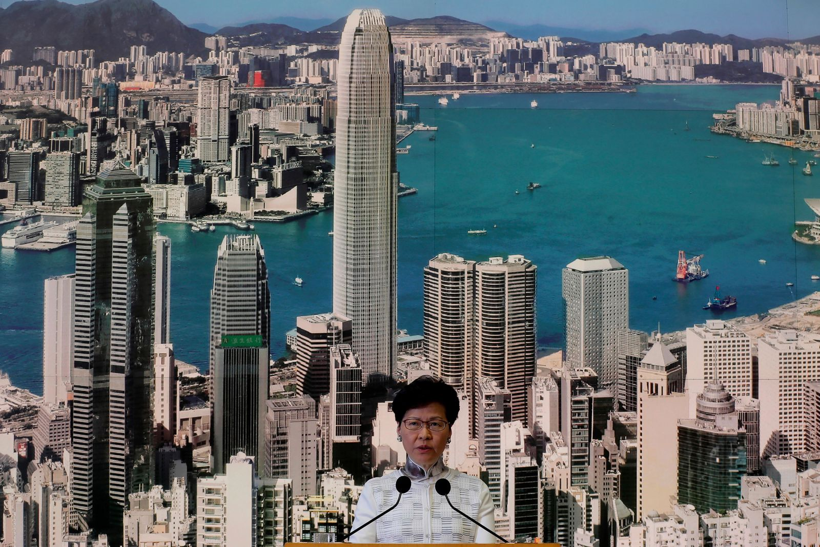 Hong Kong's Chief Executive Carrie Lam speaks at a press conference, Saturday, June 15, 2019, in Hong Kong. (AP Photo/Kin Cheung)