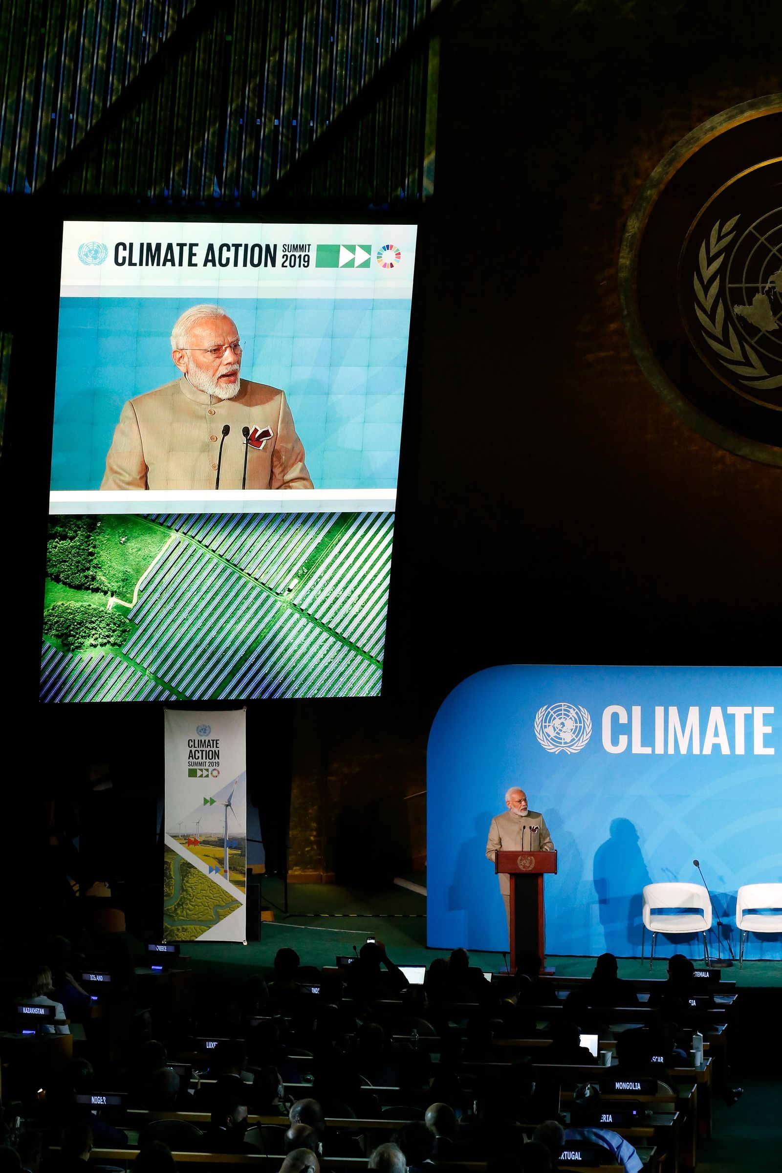 India's Prime Minister Narendra Modi addresses the Climate Action Summit in the United Nations General Assembly, at U.N. headquarters, Monday, Sept. 23, 2019. (AP Photo/Jason DeCrow)