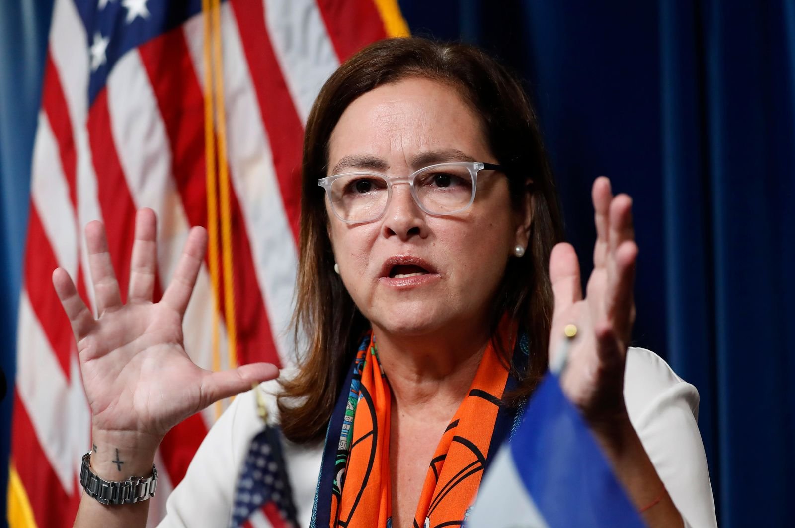 El Salvador Foreign Affairs Minister Alexandra Hill  speaks during a news conference with acting Secretary of Homeland Security Kevin McAleenan at the U.S. Customs and Border Protection headquarters in Washington, Friday, Sept. 20, 2019.  (AP Photo/Pablo Martinez Monsivais)
