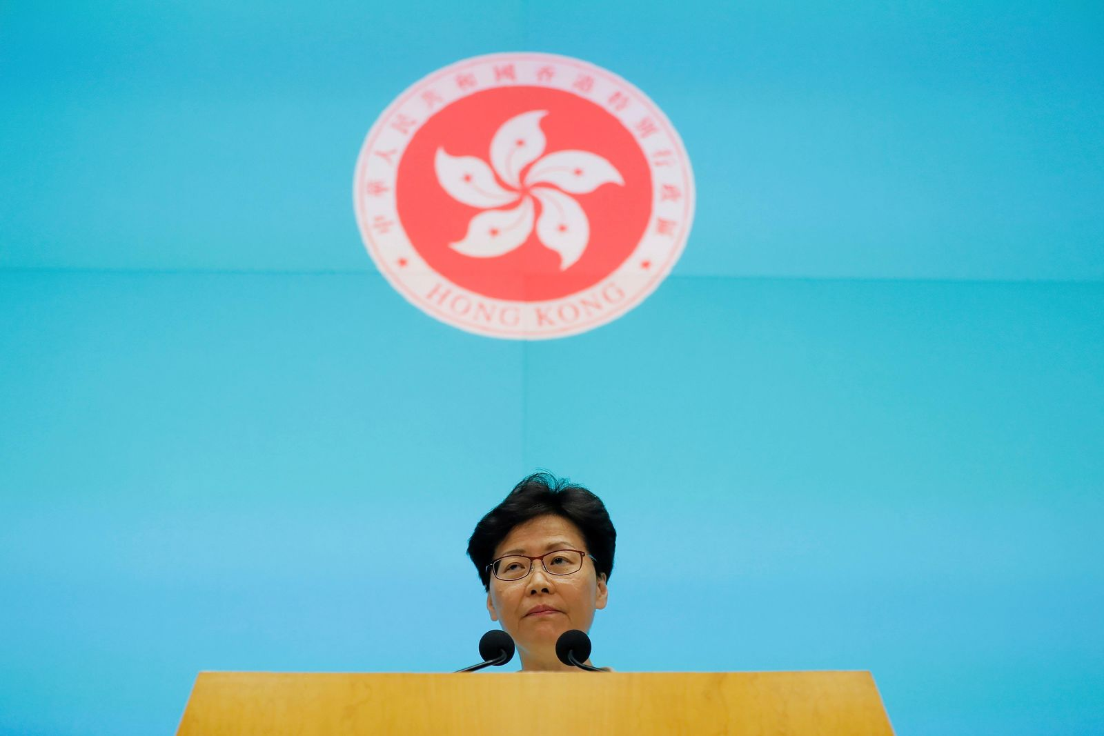 Hong Kong Chief Executive Carrie Lam pauses as she speaks during a press conference at the Legislative Council in Hong Kong, Tuesday, June 18, 2019. Hong Kong leader apologizes for her handling of unpopular extradition bill, says the city needs hope. (AP Photo/Kin Cheung)