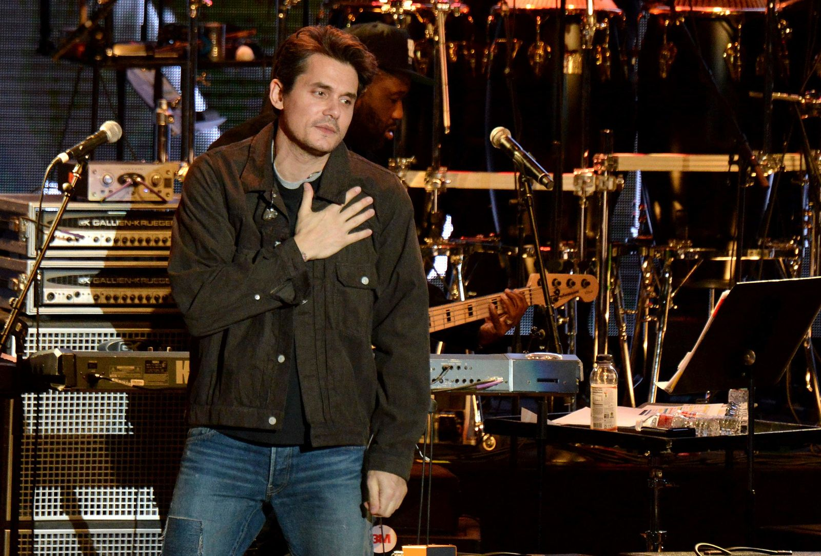 John Mayer gestures to the crowd during the tribute event Mac Miller: A Celebration of Life on Wednesday, Oct. 31, 2018, at the Greek Theatre in Los Angeles. (Photo by Amy Harris/Invision/AP)