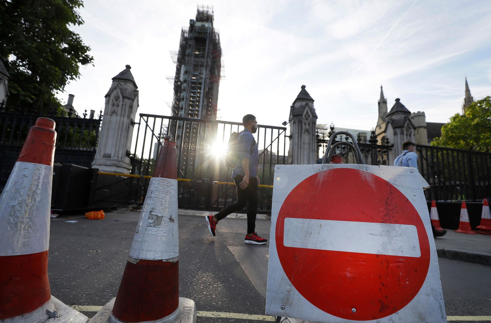 A no-entry road sign sits in front of the entrance to Britain's Parliament in London, Thursday, Aug. 29, 2019. (AP Photo/Kirsty Wigglesworth)