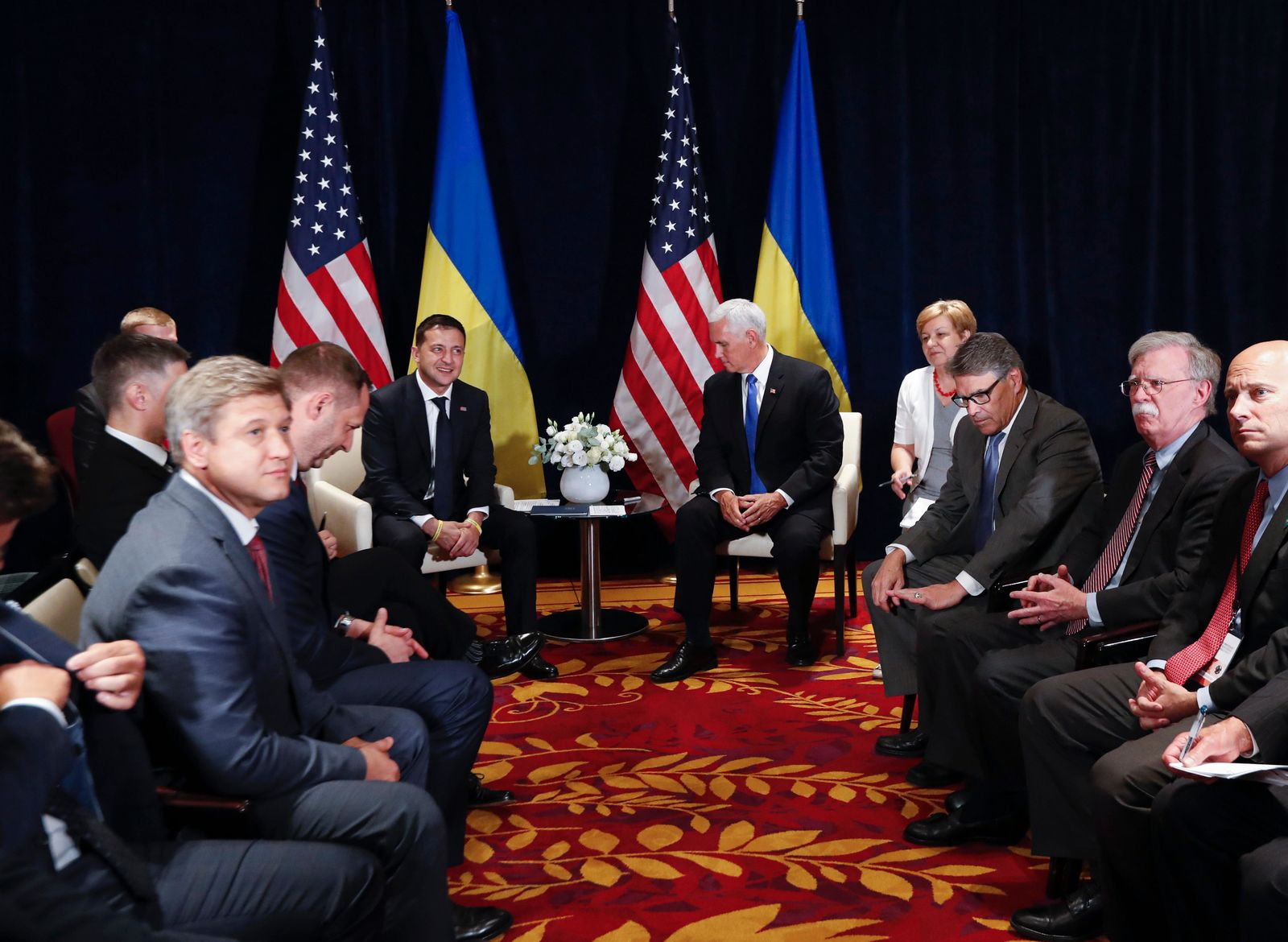 Ukraine's President Volodymyr Zelenskiy, left, sits next to U.S. Vice President Mike Pence, during a bilateral meeting in Warsaw, Poland, Sunday, Sept. 1, 2019. (AP Photo/Petr David Josek)
