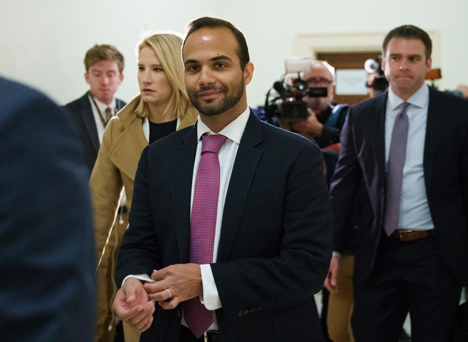 FILE - In this Oct. 25, 2018, file photo, George Papadopoulos, the former Trump campaign adviser who triggered the Russia investigation, arrives for his first appearance before congressional investigators, on Capitol Hill in Washington. (AP Photo/Carolyn Kaster, File)