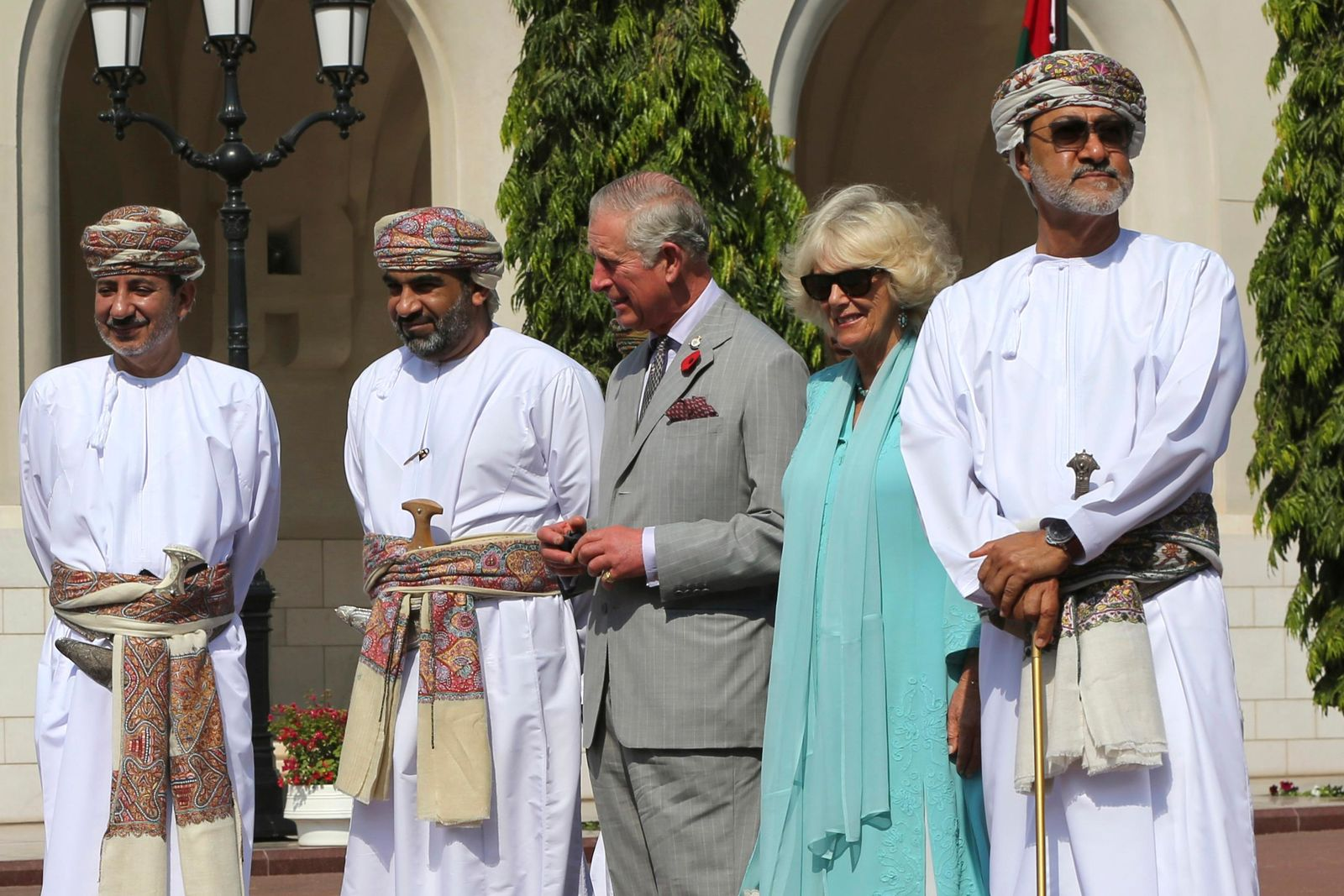 In this Nov. 5, 2016, photo, Oman's new sultan, Haitham bin Tariq Al Said, is seen at far right while welcoming Britain's Prince Charles and his wife, Camilla, Duchess of Cornwall, at Bait Al Noor church in Muscat, Oman. Oman named Haitham bin Tariq Al Said as the country's new sultan on Saturday, Jan. 11, 2020. (AP Photo/Kamran Jebreili)