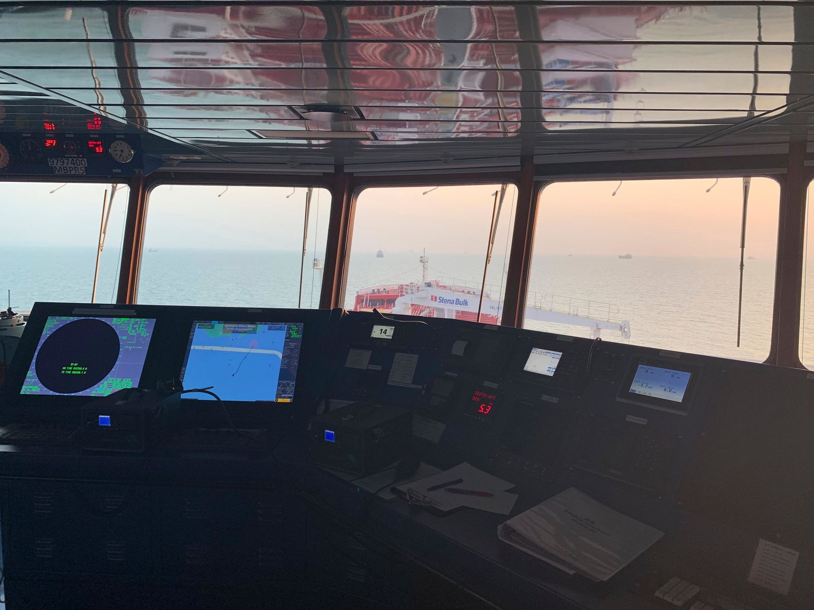 This Sunday, July 21, 2019 photo, shows the cockpit of a British-flagged oil tanker Stena Impero which was seized in the Strait of Hormuz on Friday by the Iran's Revolutionary Guard, in the Iranian port of Bandar Abbas. Global stock markets were subdued Monday while the price of oil climbed as tensions in the Persian Gulf escalated after Iran's seizure of a British oil tanker on Friday. (Morteza Akhoondi/Mehr News Agency via AP)