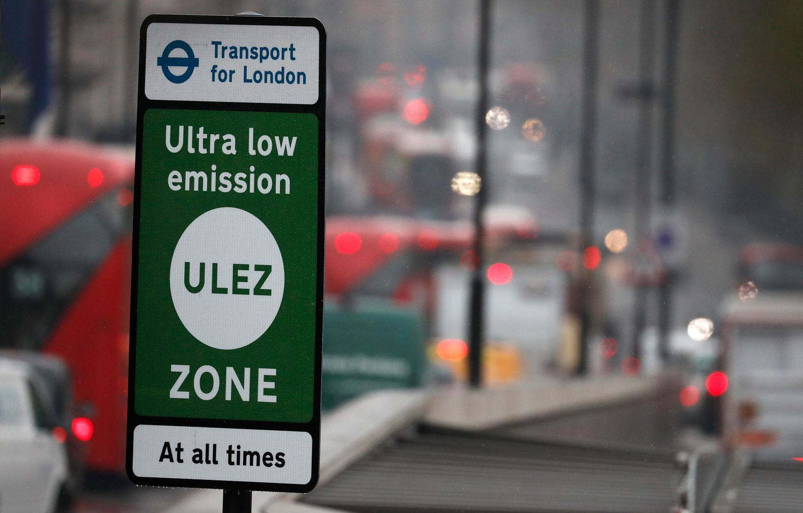 Cars enter the new Ultra Low Emission Zone that has come into force Monday, in London, Monday, April 8, 2019, one of the world's first emission charge for cars.{ } (AP Photo/Frank Augstein)