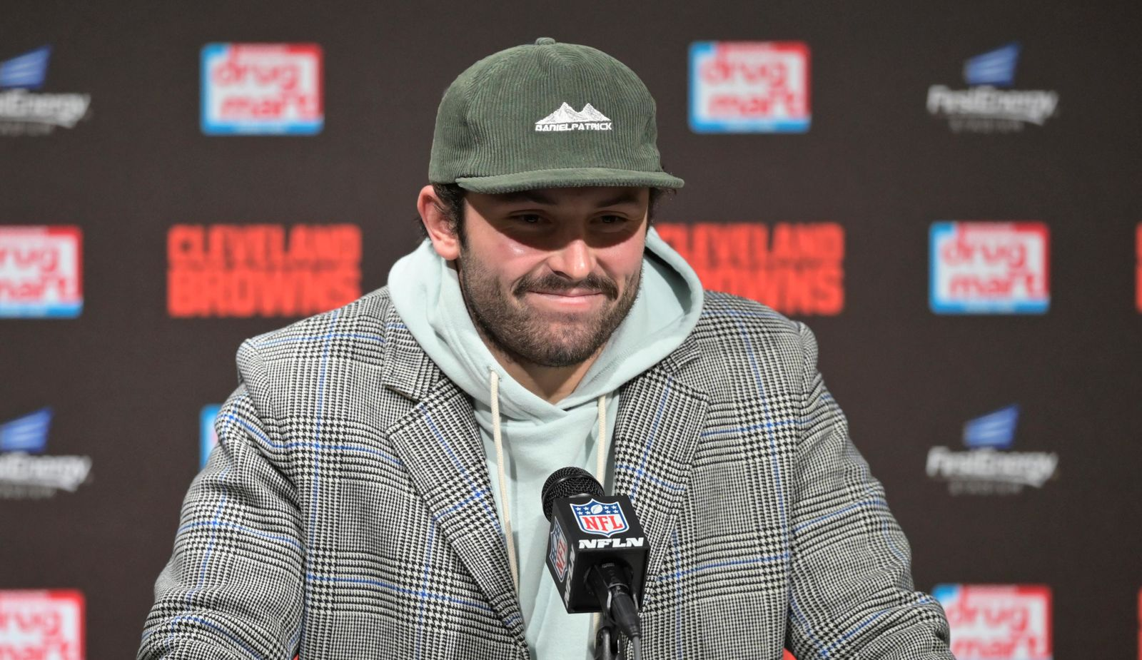 Cleveland Browns quarterback Baker Mayfield answers questions during a news conference after the team's NFL football game against the Pittsburgh Steelers, early Friday, Nov. 15, 2019, in Cleveland. The Browns won 21-7. (AP Photo/David Richard)