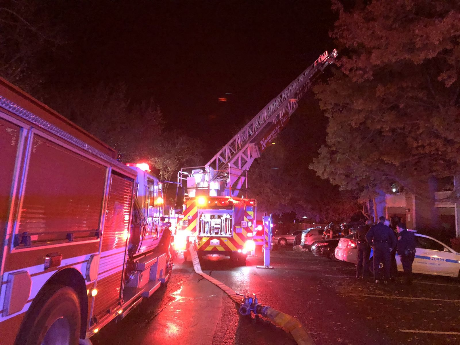 <p>The Nashville Fire Department is responding to a reported fatal crash and fire at a Hermitage apartment complex. PHOTO: Nashville Fire Department</p>