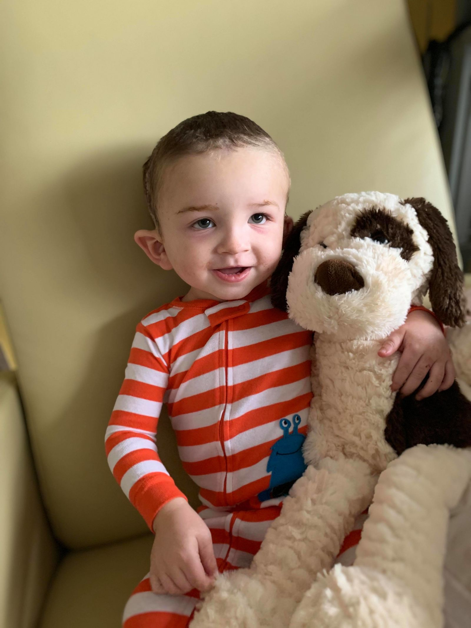 Only a few days after his cranial vault remodeling surgery, Branson was back home. (Heather Figueroa via Storyful)<br>
