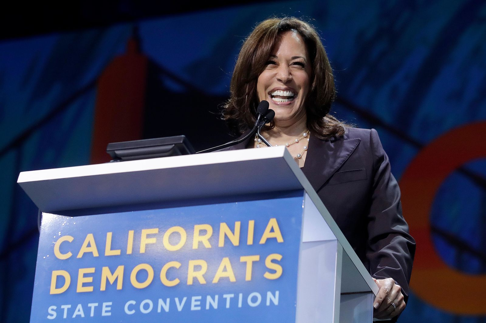 FILE - In this June 1, 2019, file photo, Democratic presidential candidate Sen. Kamala Harris, D-Calif., speaks during the 2019 California Democratic Party State Organizing Convention in San Francisco. (AP Photo/Jeff Chiu, File)