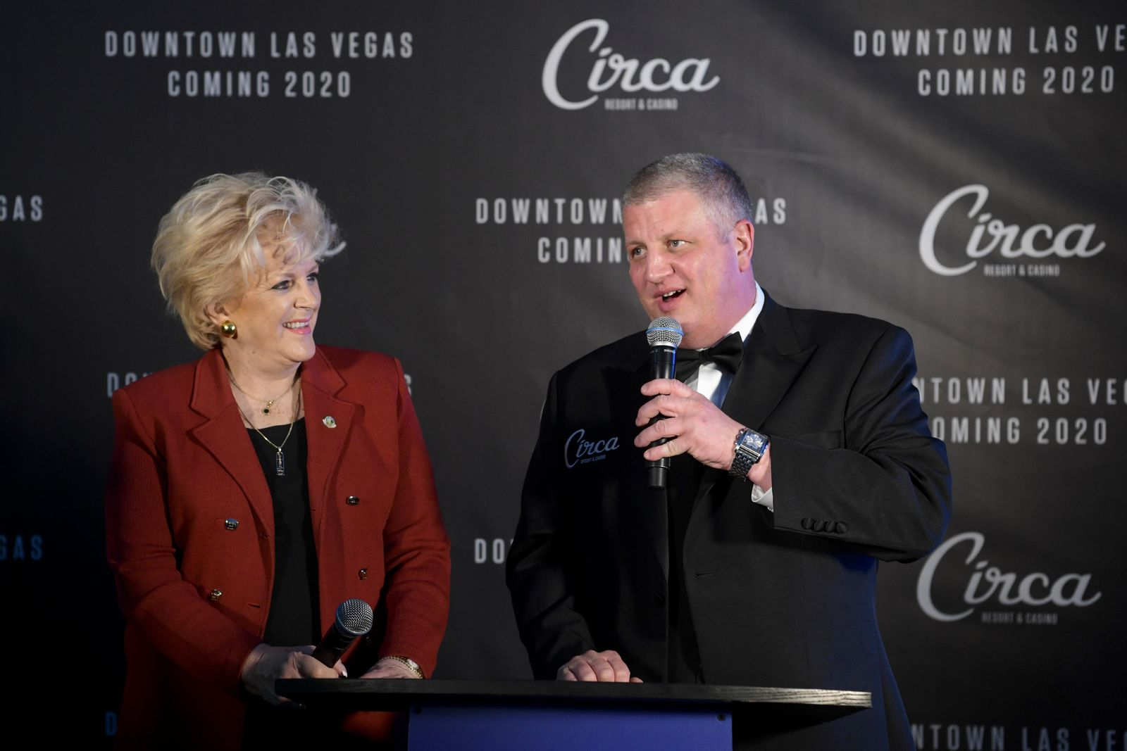 Las Vegas Mayor Carolyn Goodman joins Derek Stevens as he speaks during the unveiling of his new project for Fremont Street, Circa Resort & Casino, Thursday, Jan 10, 2019, at the Downtown Las Vegas Events Center. (Sam Morris/Las Vegas News Bureau)
