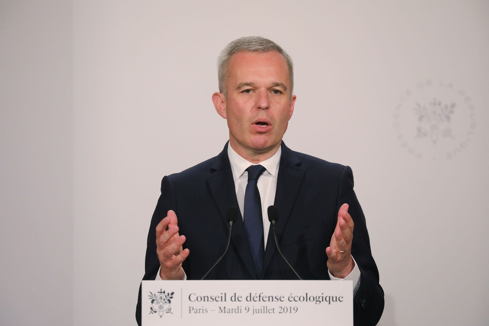 FILE - In this July 9, 2019 file photo, French Ecology Minister Francois de Rugy gives a press conference during an Ecological Defense Council, in Paris. Francois de Rugy resigned Tuesday July 16, 2019 over reports of publicly funded lavish lifestyle. (Ludovic Marin/POOL via AP, File)