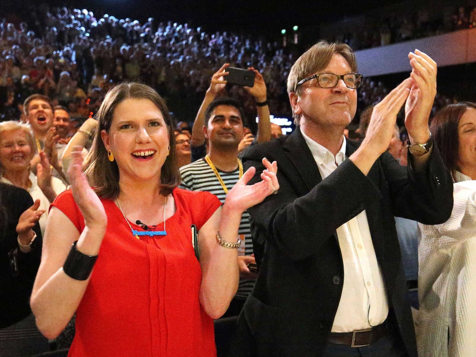Liberal Democrat leader Jo Swinson with European Parliament's Brexit co-ordinator Guy Verhofstadt during the Liberal Democrats autumn conference at the Bournemouth International Centre in Bournemouth, England, Saturday Sept. 14, 2019.{ } Jonathan Brady/PA via AP)