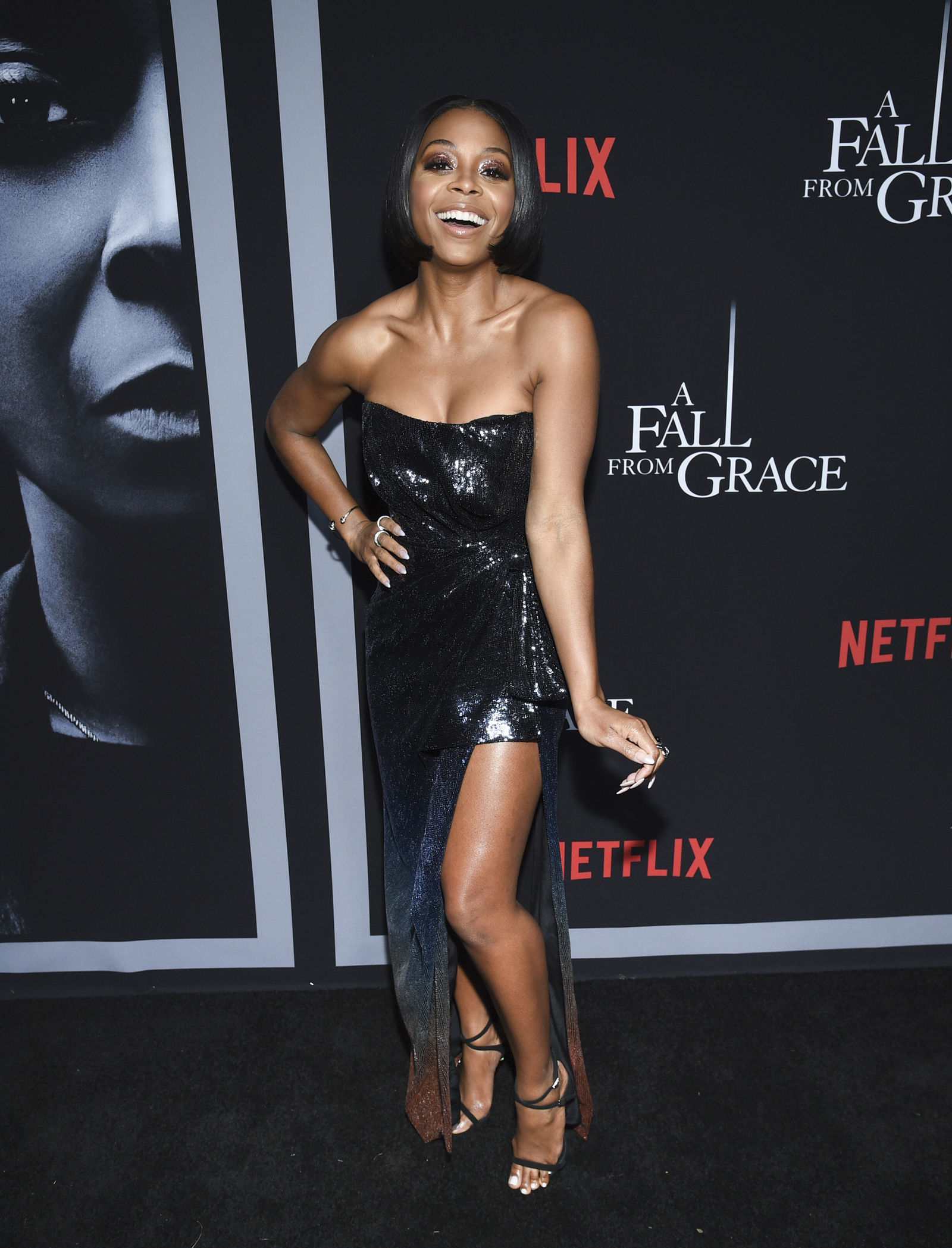 "Actress Bresha Webb attends the premiere of Tyler Perry's ""A Fall from Grace,"" at Metrograph, Monday, Jan. 13, 2020, in New York. (Photo by Evan Agostini/Invision/AP)"
