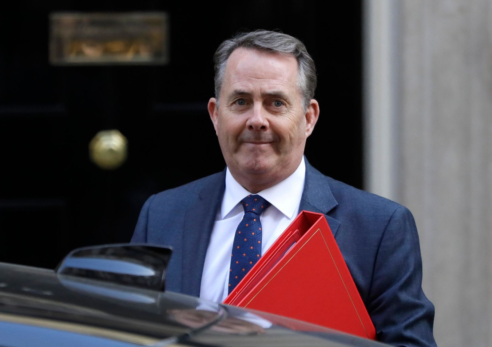 Liam Fox Britain's Secretary of State for International Trade arrives for a Cabinet meeting at Downing Street in London, Monday, March 25, 2019.{ } (AP Photo/Kirsty Wigglesworth)