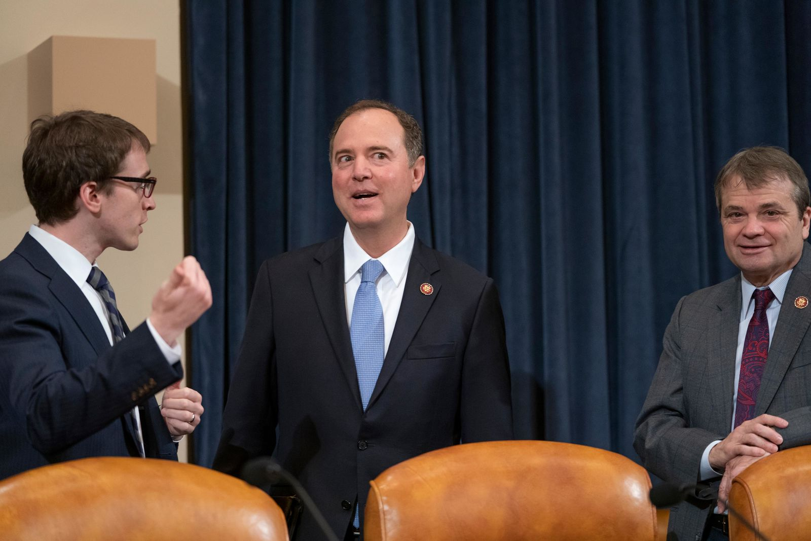 House Intelligence Committee Chairman Adam Schiff, D-Calif., center, joined at right by Rep. Mike Quigley, D-Ill., opens a hearing on politically motivated fake videos and manipulated media, on Capitol Hill in Washington, Thursday, June 13, 2019.  (AP Photo/J. Scott Applewhite)