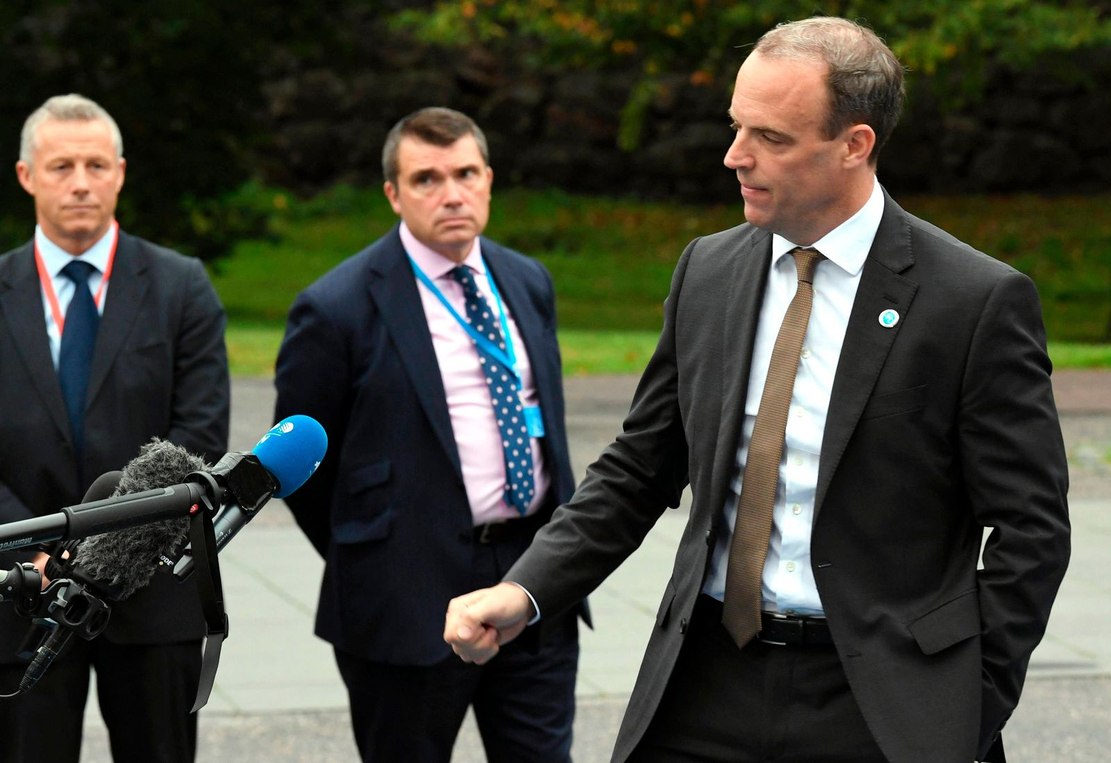 British Secretary of State for Foreign and Commonwealth Affairs and First Secretary of State Dominic Raab speaks to the media as he arrives to the Informal Meeting of EU Foreign Ministers in Helsinki, Finland, on Friday, Aug. 30, 2019. (Jussi Nukari/Lehtikuva via AP)