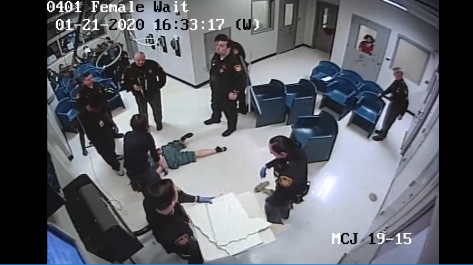 Jessica Boomershine is charged with escape and vandalism for climbing to the ceiling in a holding room at the Montgomery County Jail. She fell through the tiles and then fell into a trash can before being handcuffed and taken to a jail cell. (Image courtesy Montgomery County Jail)