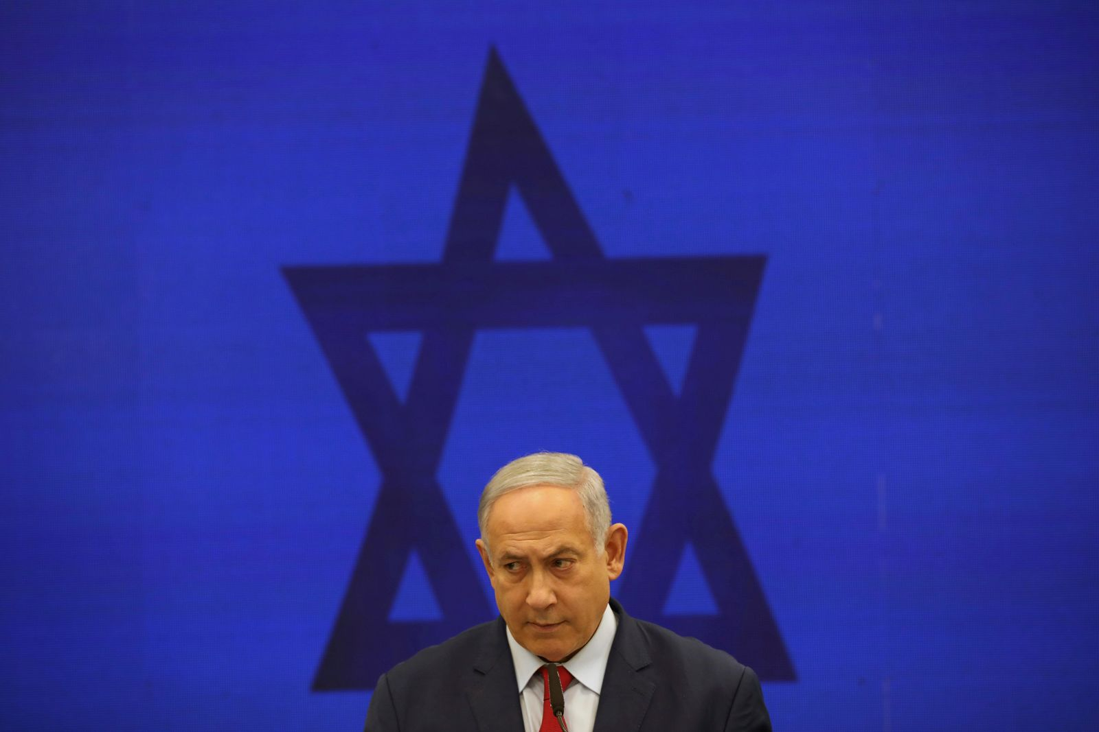 FILE - In this Sept. 10, 2019 file photo, Israeli Prime Minister Benjamin Netanyahu, speaks during a press conference in Tel Aviv, Israel. (AP Photo/Oded Balilty, File)