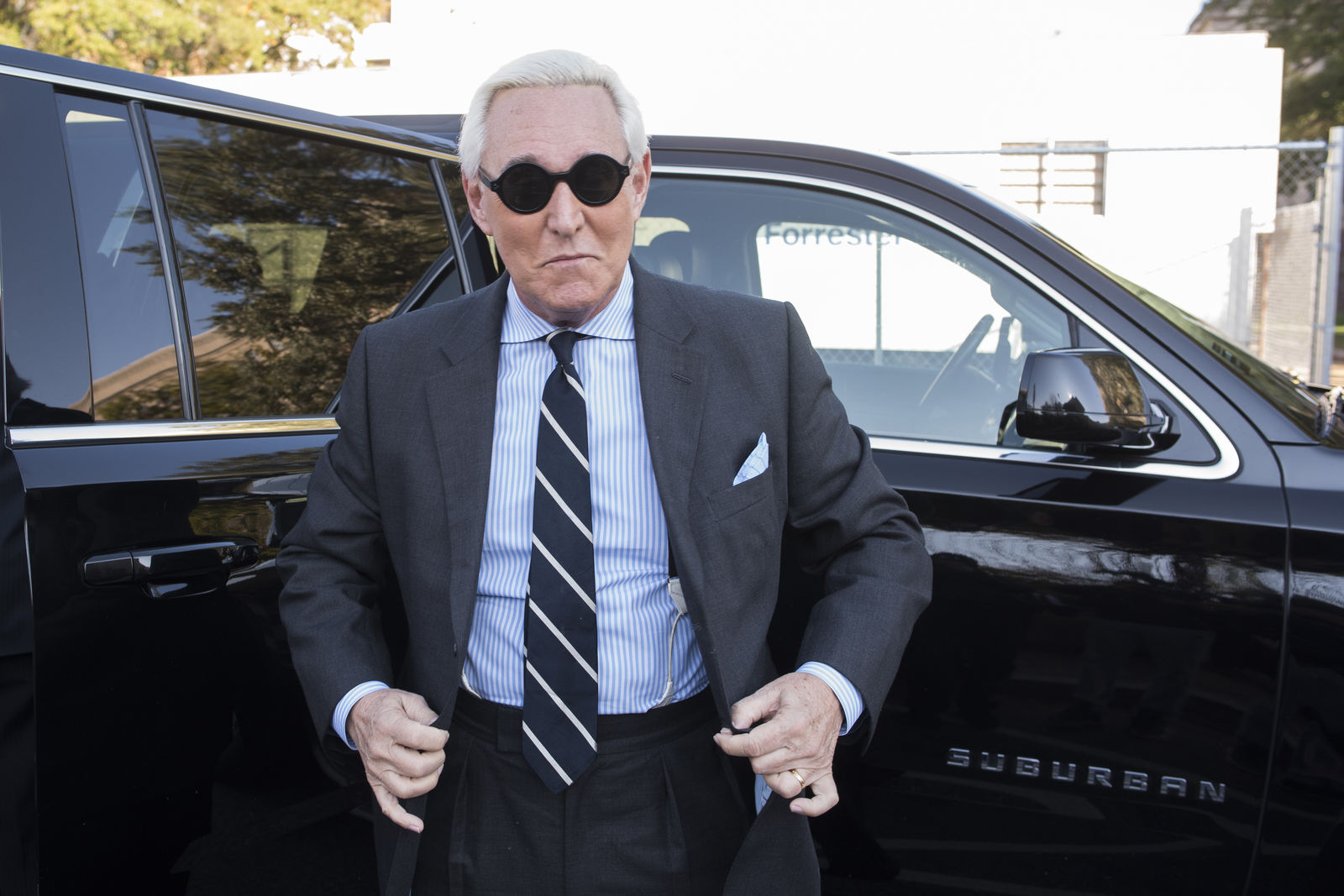 FILE - In this Nov. 6, 2019 file photo, Roger Stone arrives at Federal Court for the second day of jury selection for his federal trial, in Washington.{ } (AP Photo/Cliff Owen)