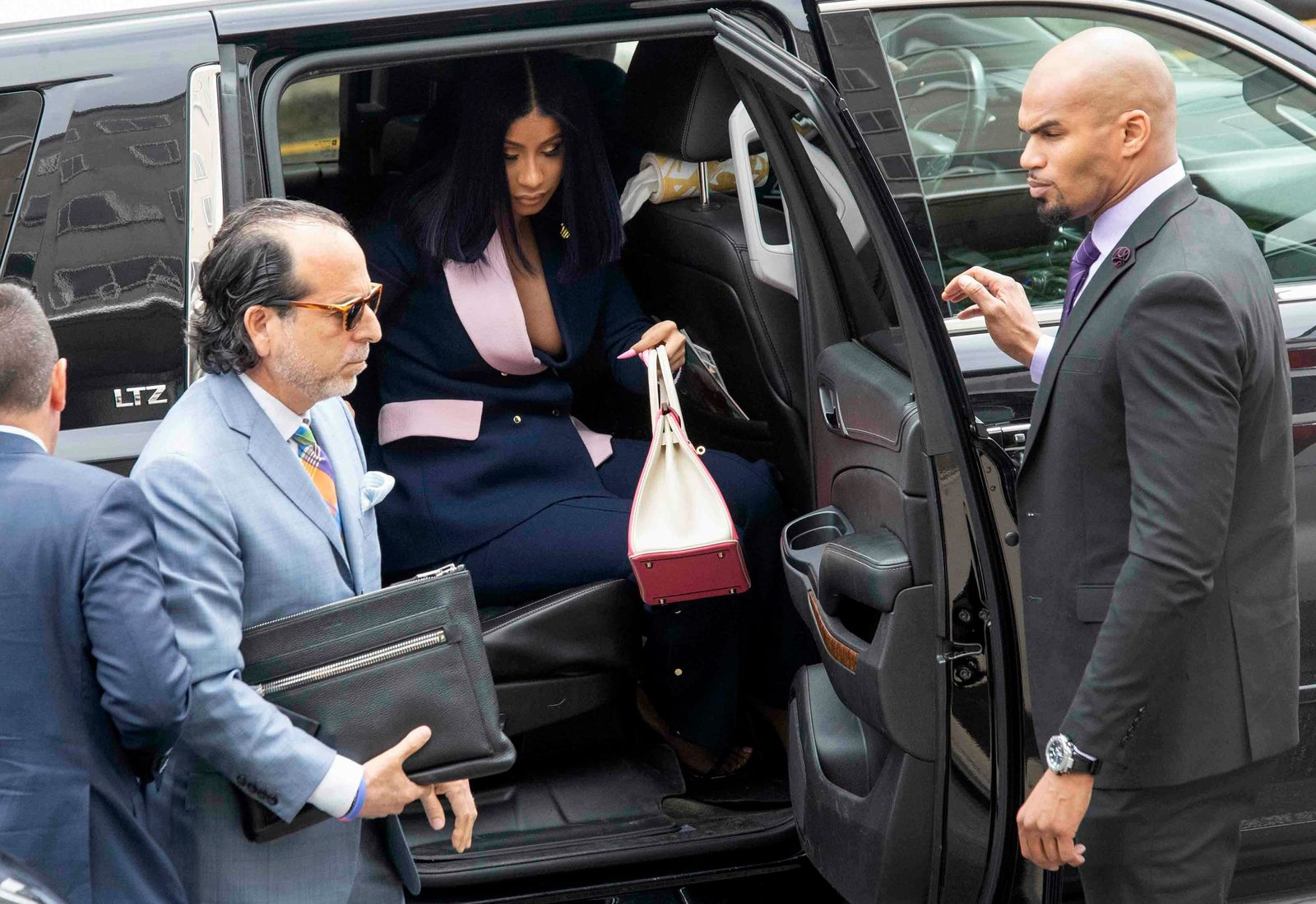 Grammy-winning rapper Cardi B arrives for a hearing at Queens County Criminal Court, Tuesday, June 25, 2019, in New York. (AP Photo/Mary Altaffer)