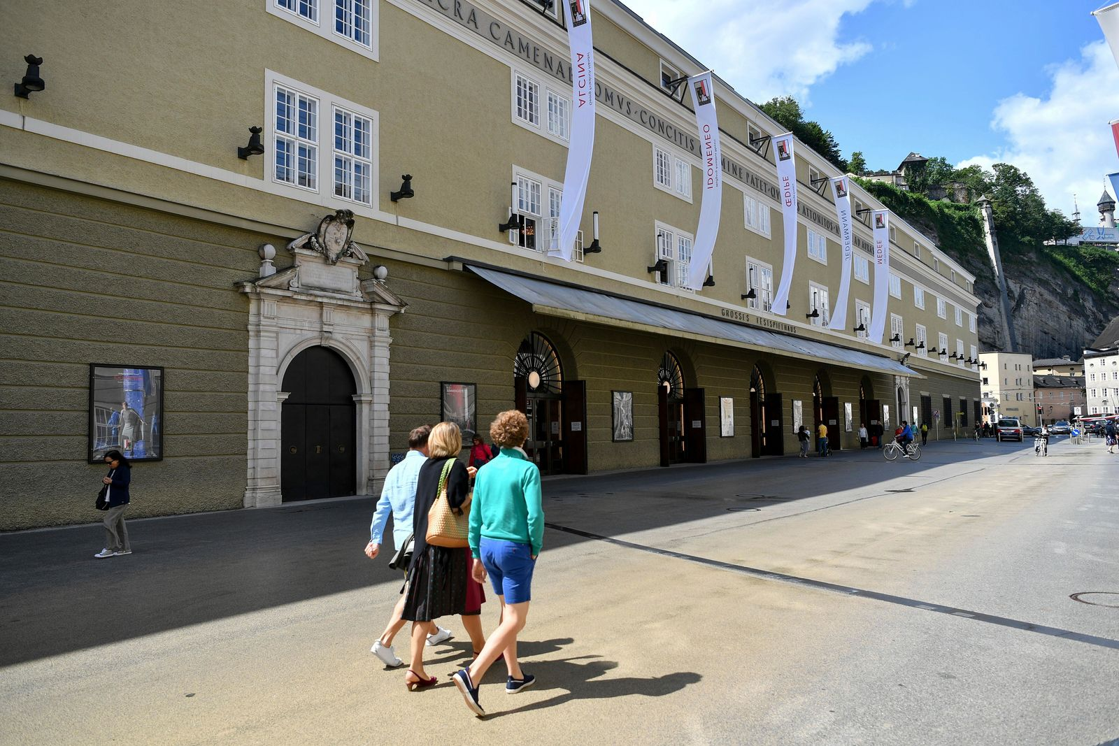 Out side view of the opera house in Salzburg, Austria, Wednesday, Aug. 14, 2019 where singer Placido Domingo will perfom 'Luisa Miller' by Giuseppe Verdi. (AP Photo/Kerstin Joensson)