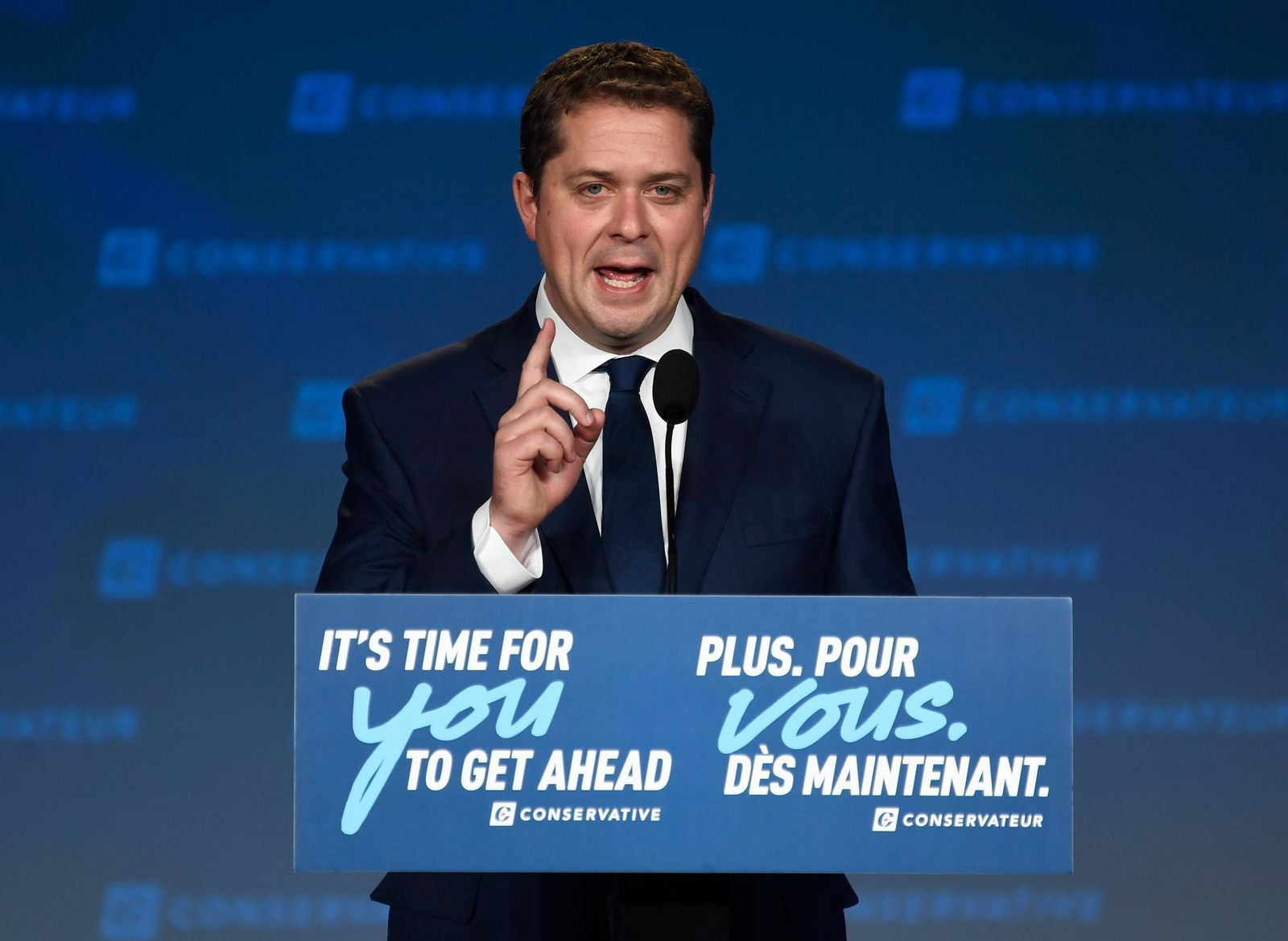 Conservative leader Andrew Scheer speaks at Conservative election headquarters in Regina, Saskatchewan, on Monday, Oct. 21, 2019. (Jeff McIntosh/The Canadian Press via AP)