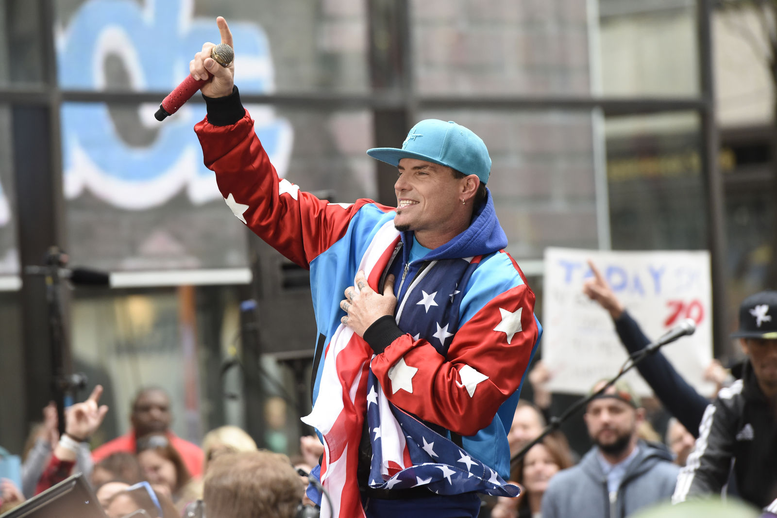 "Vanilla Ice performs live on stage for NBC's ""Today"" at Rockefeller Plaza on April 29, 2016 in New York City.  (Photo by Matthew Eisman/Getty Images)"
