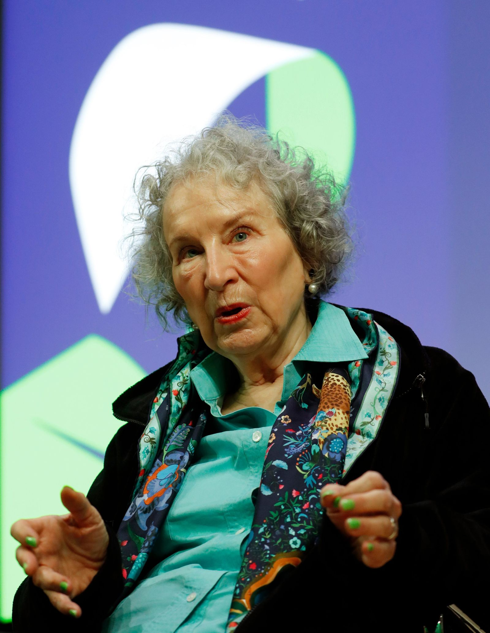 Canadian author Margaret Atwood speaks during a press conference at the British Library to launch her new book 'The Testaments' in London, Tuesday, Sept. 10, 2019. (AP Photo/Alastair Grant)