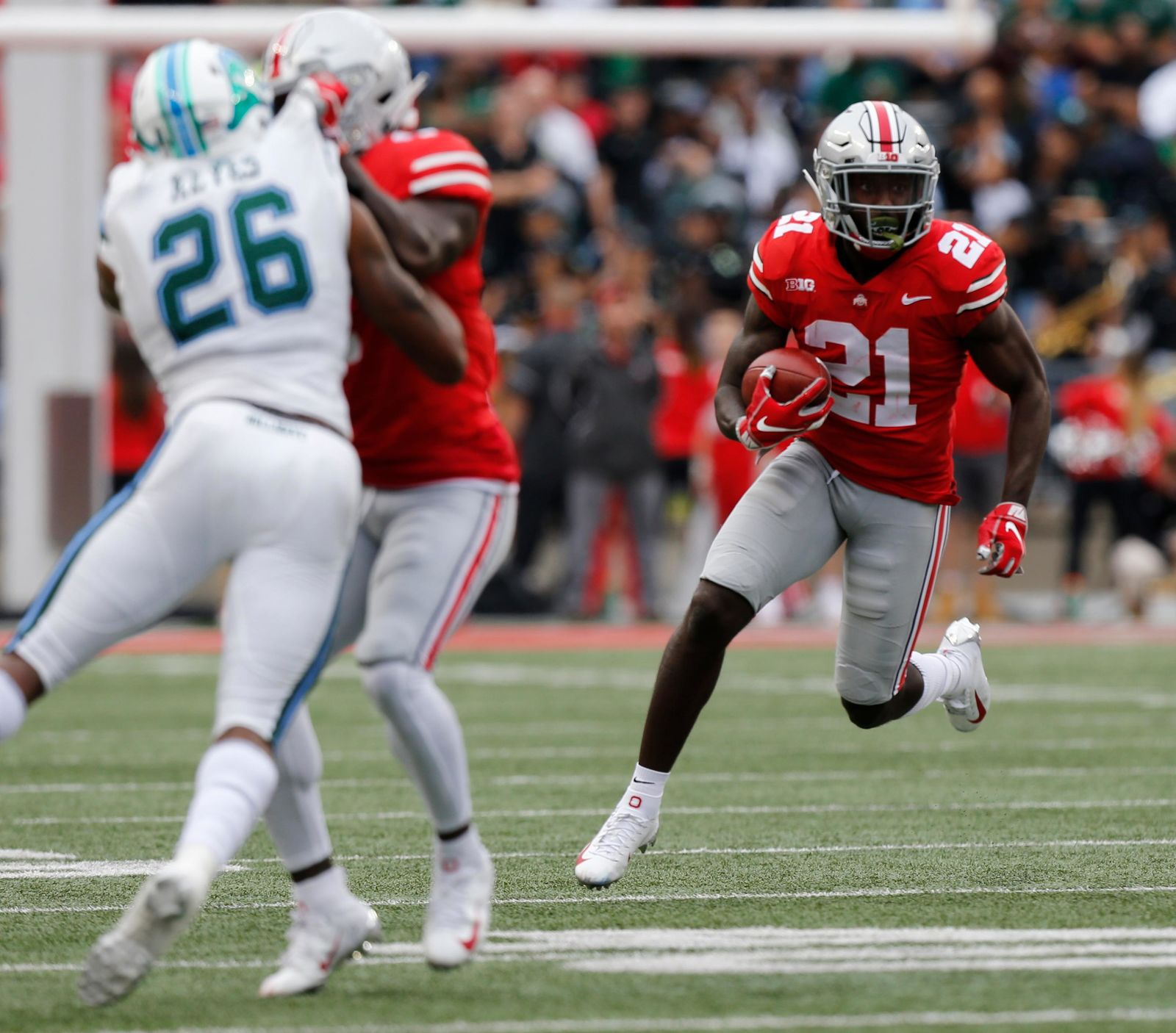 Ohio State receiver Parris Campbell cuts up field after a catch against Tulane during the first half of an NCAA college football game Saturday, Sept. 22, 2018, in Columbus, Ohio. (AP Photo/Jay LaPrete)