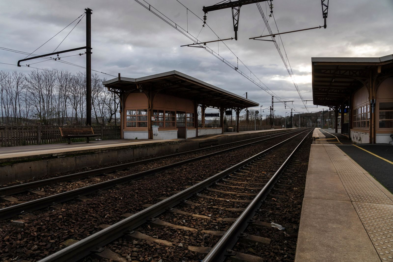 An empty platform is pictured during a railway strike at the Saint Germain au Mont d'Or train station, around Lyon, central France, Monday, Dec. 9, 2019.{ } (AP Photo/Laurent Cipriani)