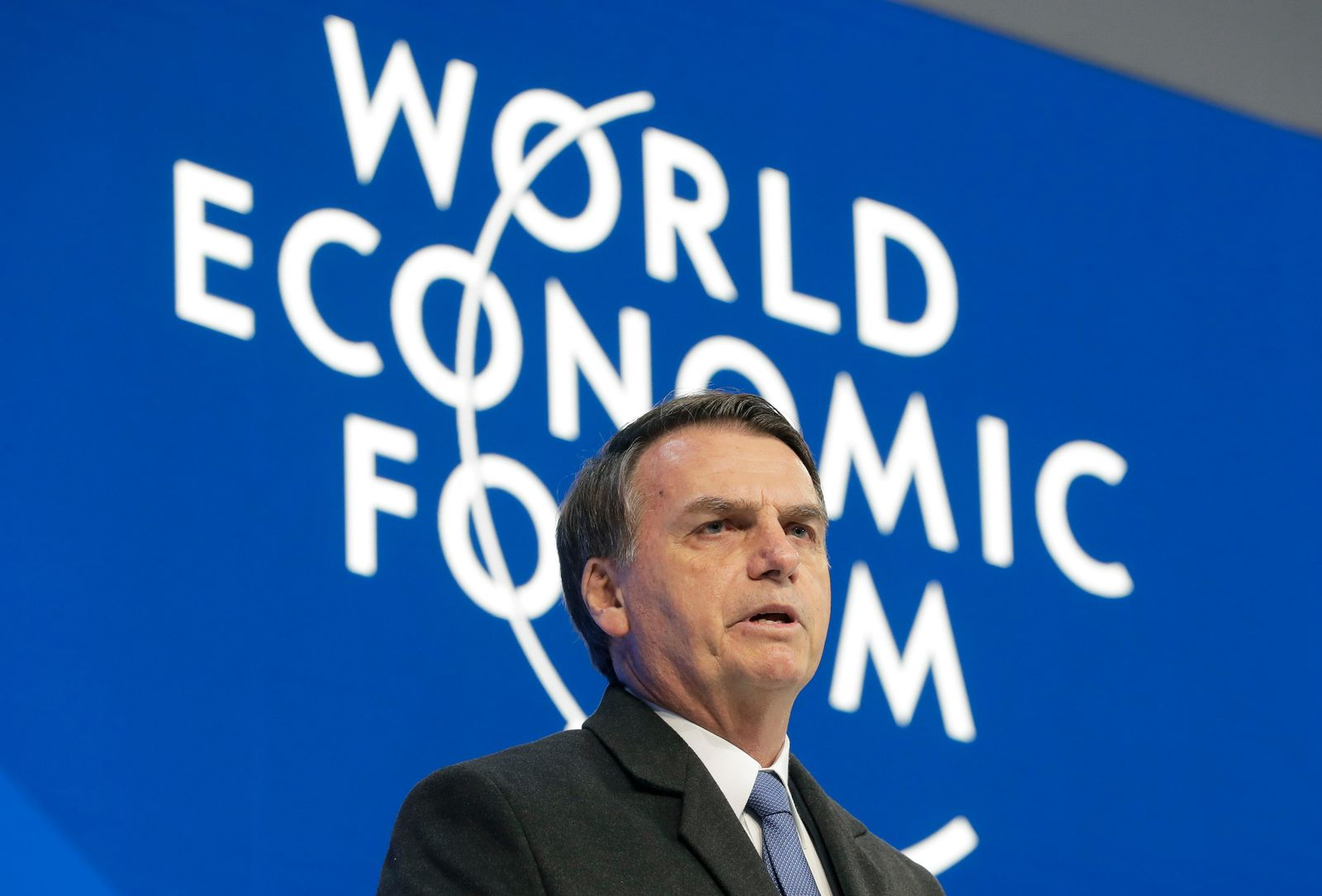 Jair Bolsonaro, President of Brazil, addresses the annual meeting of the World Economic Forum in Davos, Switzerland, Tuesday, Jan. 22, 2019. (AP Photo/Markus Schreiber)