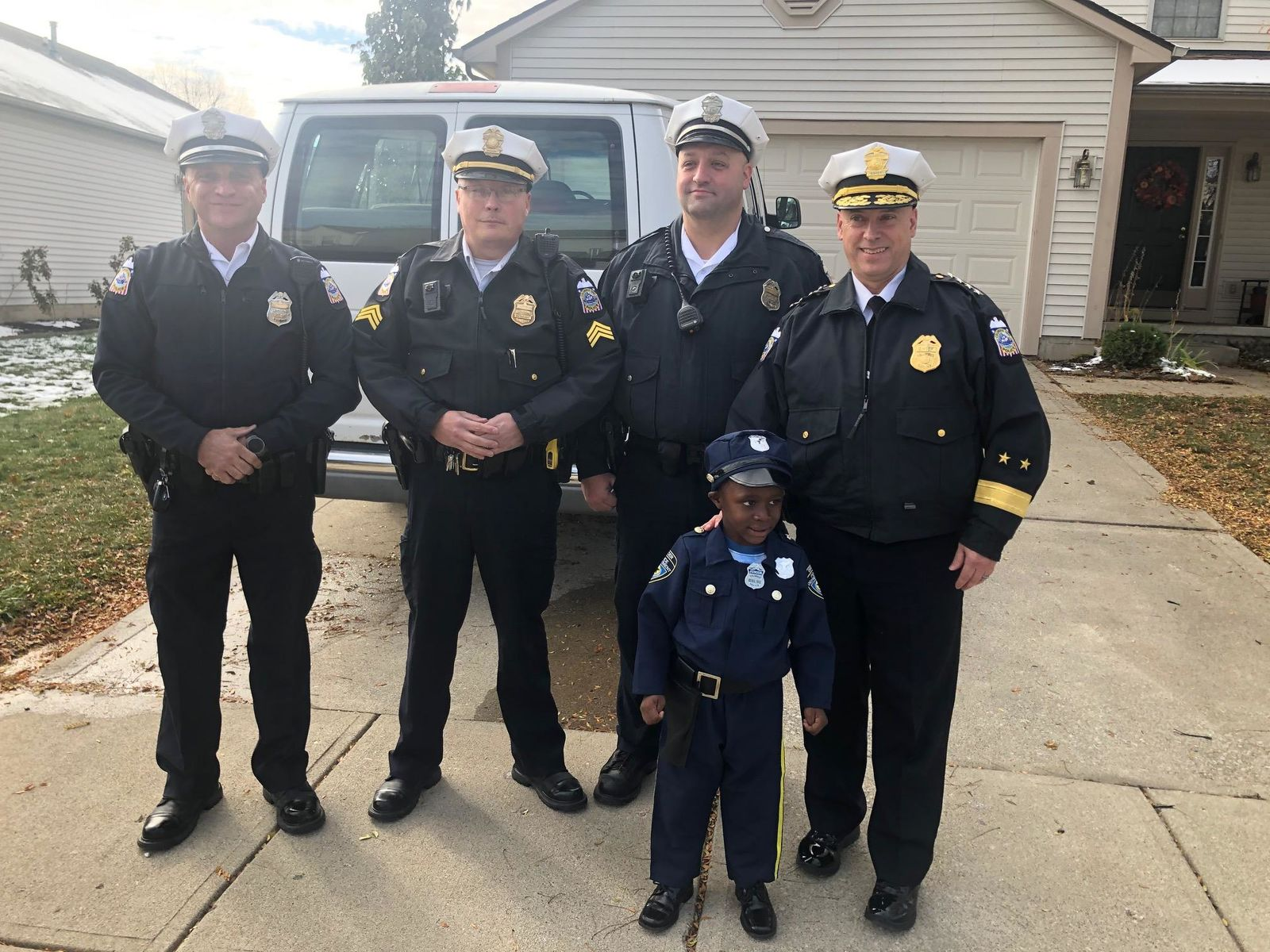 "Four-year-old Tyrone met with Columbus Police officers Thursday Nov. 14, 2019 after winning the annual ""Cute Cop Costume Contest."" (WSYX/WTTE)<p></p>"