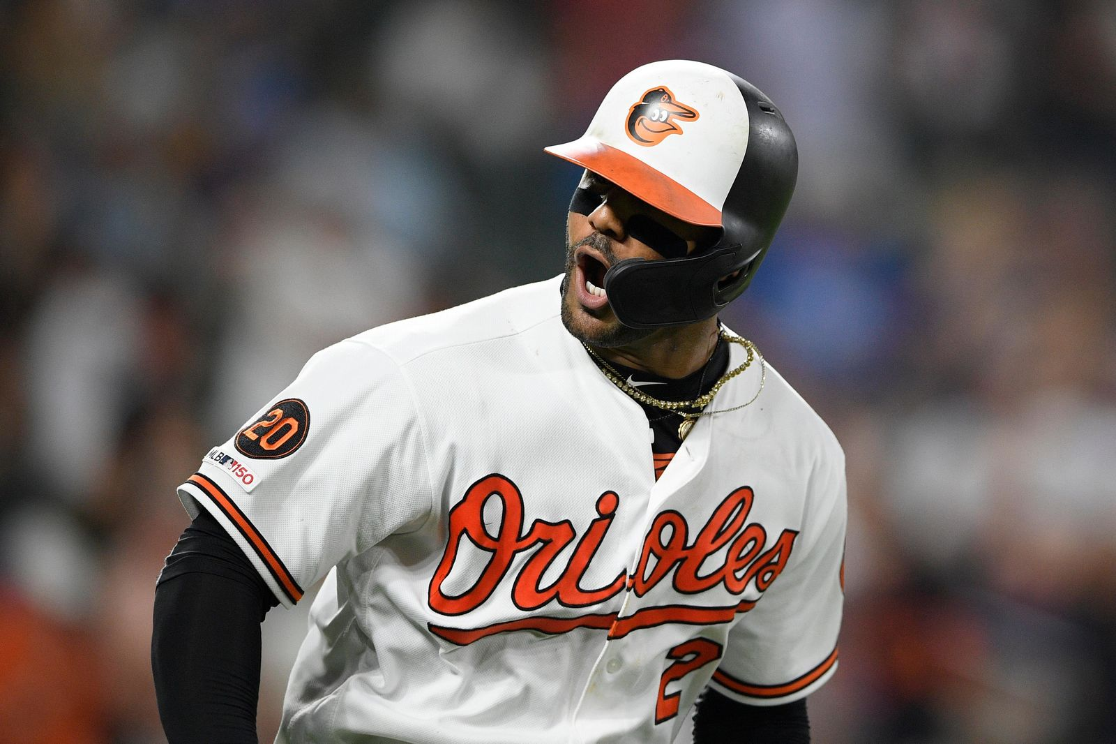 Baltimore Orioles' Jonathan Villar reacts towards the dugout after he hit a three-run home run during the seventh inning of the team's baseball game against the Los Angeles Dodgers, Wednesday, Sept. 11, 2019, in Baltimore. Villar connected for the 6,106th homer in the majors this season. That topped the mark of 6,105 set in 2017. The Orioles won 7-3. (AP Photo/Nick Wass)