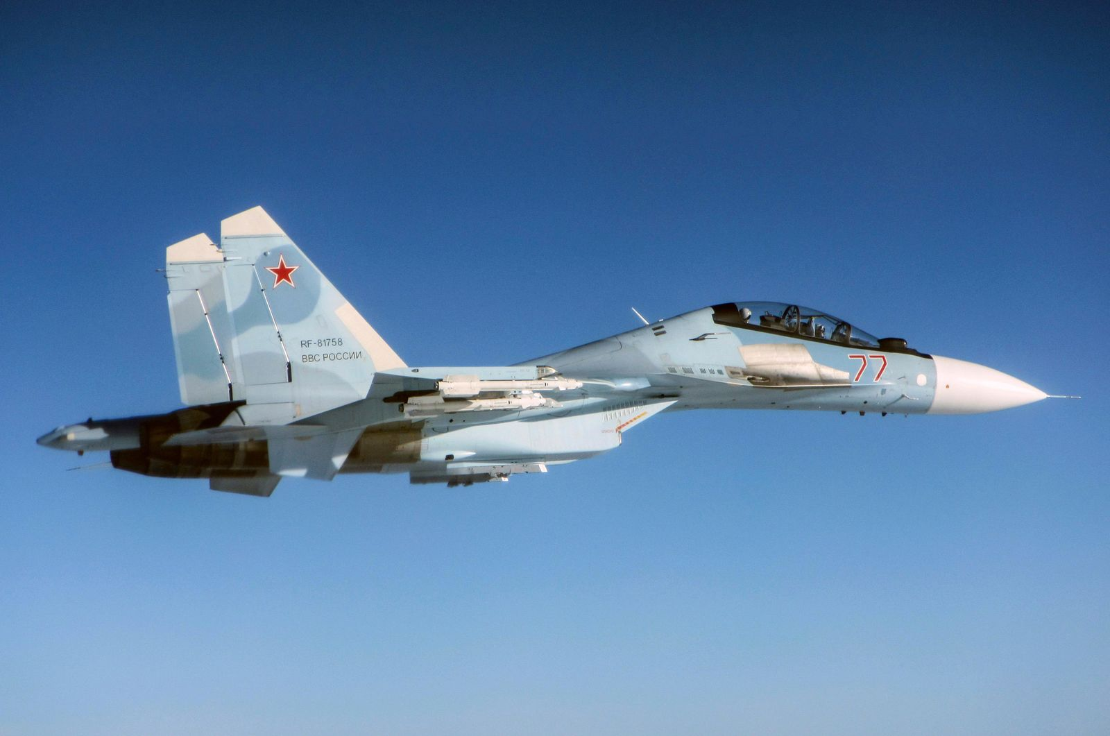 CAPTION CORRECTS AIRCRAFT NAME - In this photo  taken on Friday, June 14, 2019, a Russian Su-30 Flanker fighter flies over the Baltic Sea. Two Royal Air Force jets deployed in Estonia have been scrambled twice in recent days, bringing the number of intercepts of Russian aircraft to eight since taking over the Baltic Air Policing mission in early May. (UK Ministry of Defence via AP)