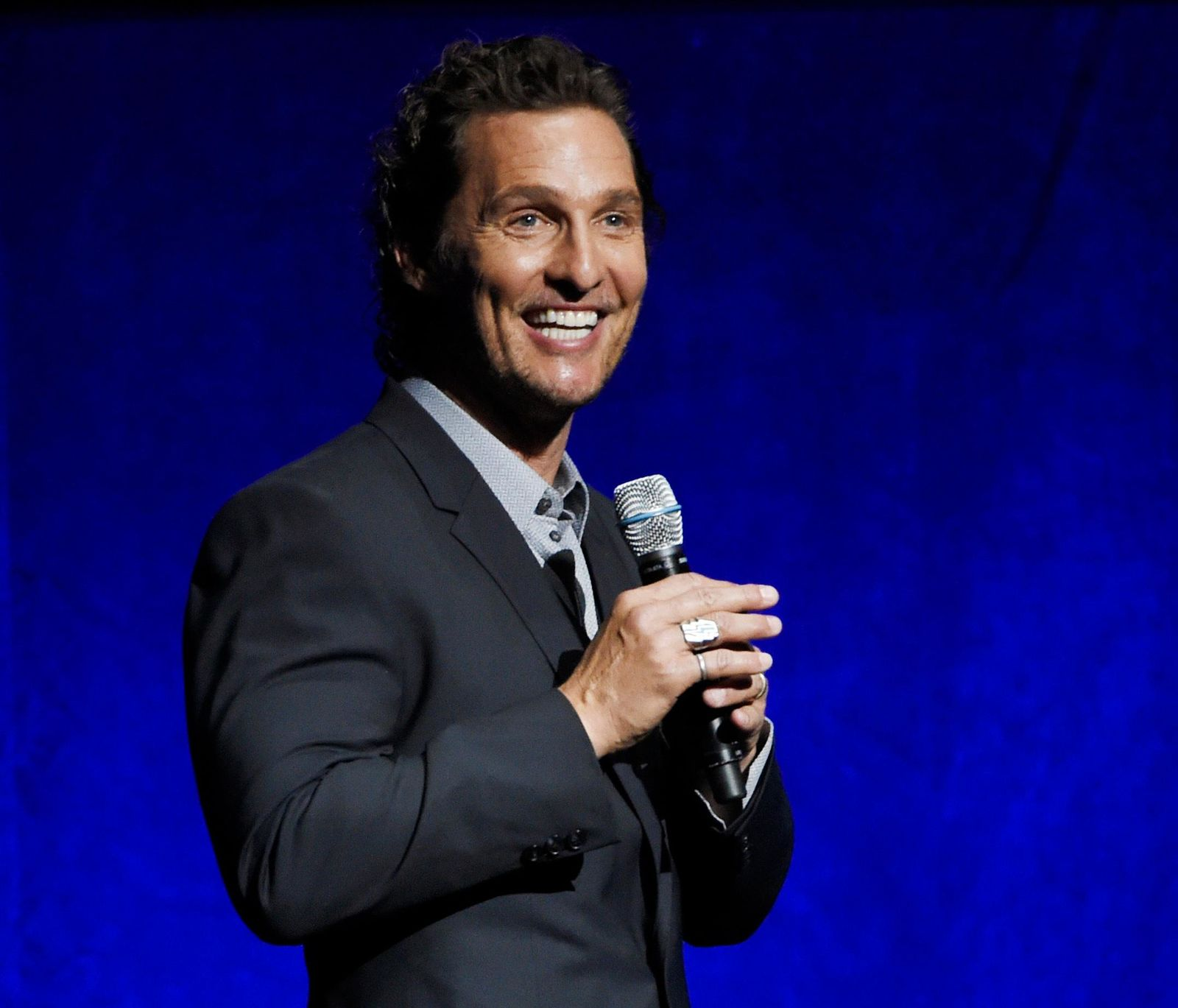 "FILE - In this April 23, 2018 file photo, Matthew McConaughey, a cast member in the upcoming film ""White Boy Rick,"" speaks during the Sony Pictures Entertainment presentation at CinemaCon 2018 in Las Vegas. (Photo by Chris Pizzello/Invision/AP, File)"