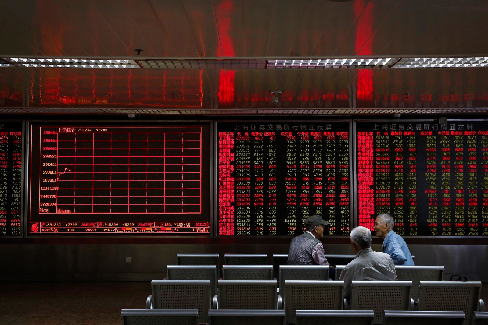 Chinese investors chat as they monitor stock prices at a brokerage house in Beijing, Monday, May 13, 2019. Shares were mostly lower in Asia on Monday after trade talks between the U.S. and China ended Friday without an agreement. (AP Photo/Andy Wong)