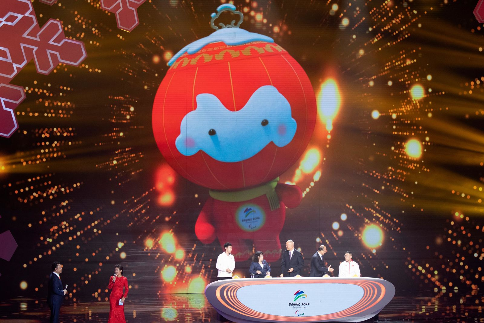 2022 Winter Paralympic Games mascot Shuey Rong Rong is revealed during a ceremony held at the Shougang Ice Hockey Arena in Beijing on Tuesday, Sept. 17, 2019. (AP Photo/Ng Han Guan)