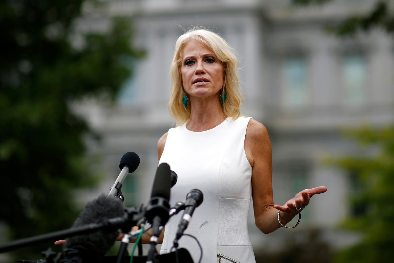 Counselor to the President Kellyanne Conway speaks with reporters outside the White House, Wednesday, Aug. 21, 2019, in Washington. Mindful of his lingering gap with women voters, President Trump's re-election campaign has female surrogates fanning out across the country in an effort to identify supporters who can help change minds. They'll be leading volunteer training sessions in 13 battleground states, including Florida, North Carolina, Michigan, Pennsylvania, Georgia and Ohio. It's a recognition of the president's persistent deficit with women that could be made worse by an economic slowdown.  (AP Photo/Patrick Semansky)