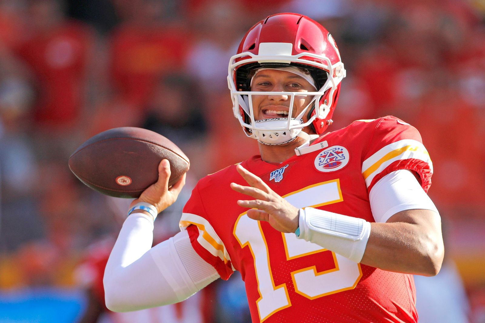 Kansas City Chiefs quarterback Patrick Mahomes warms up before an NFL preseason football game against the Cincinnati Bengals in Kansas City, Mo., Saturday, Aug. 10, 2019. (AP Photo/Colin E. Braley)