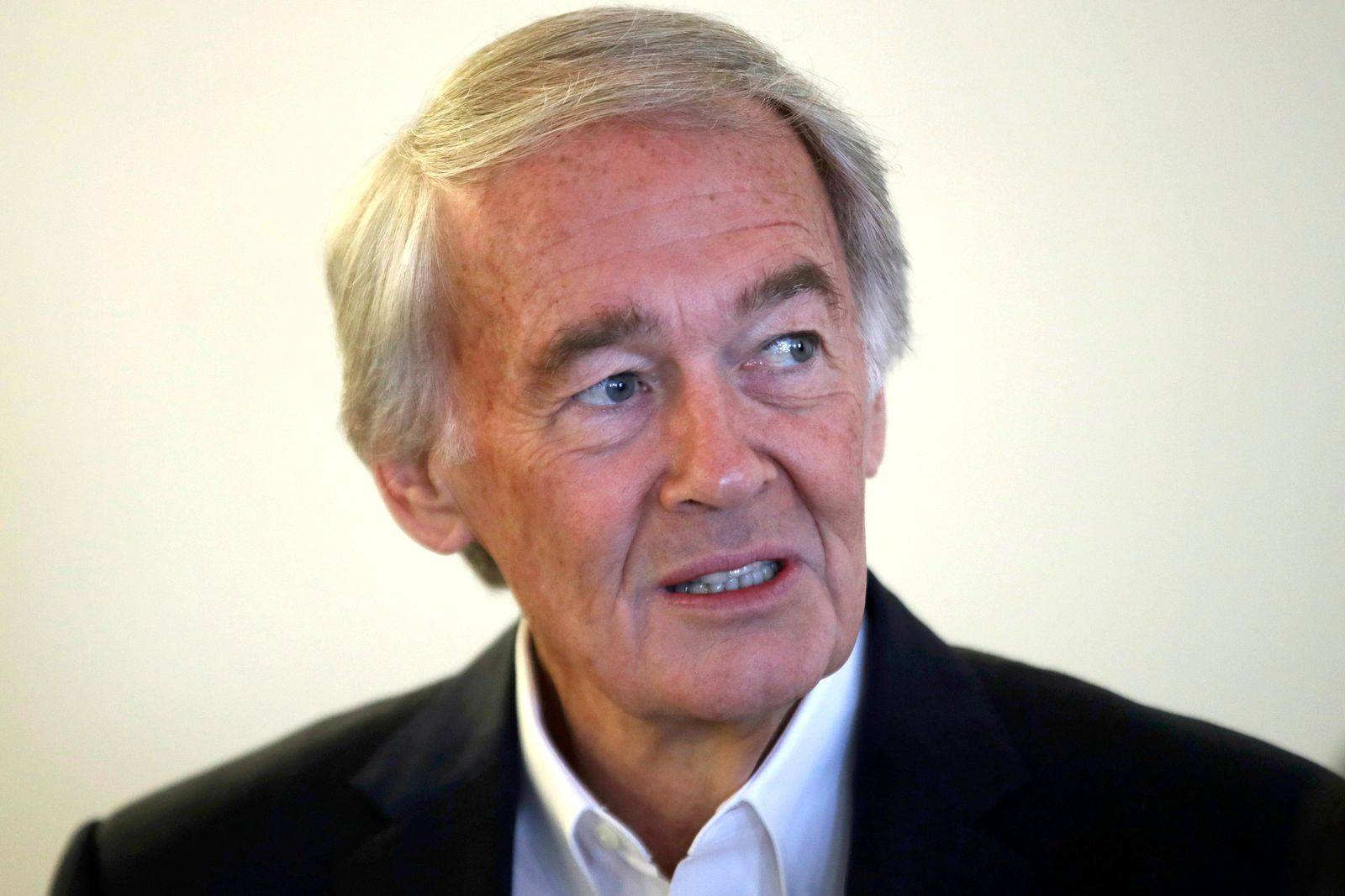 FILE - In this Aug. 26, 2019 file photo, U.S. Sen. Edward Markey, D-Mass., speaks during a news conference in Boston. U.S. Rep. Joseph Kennedy III plans to announce on Saturday, Sept. 21, that he will challenge Markey in the 2020 Democratic primary. (AP Photo/Elise Amendola, File)