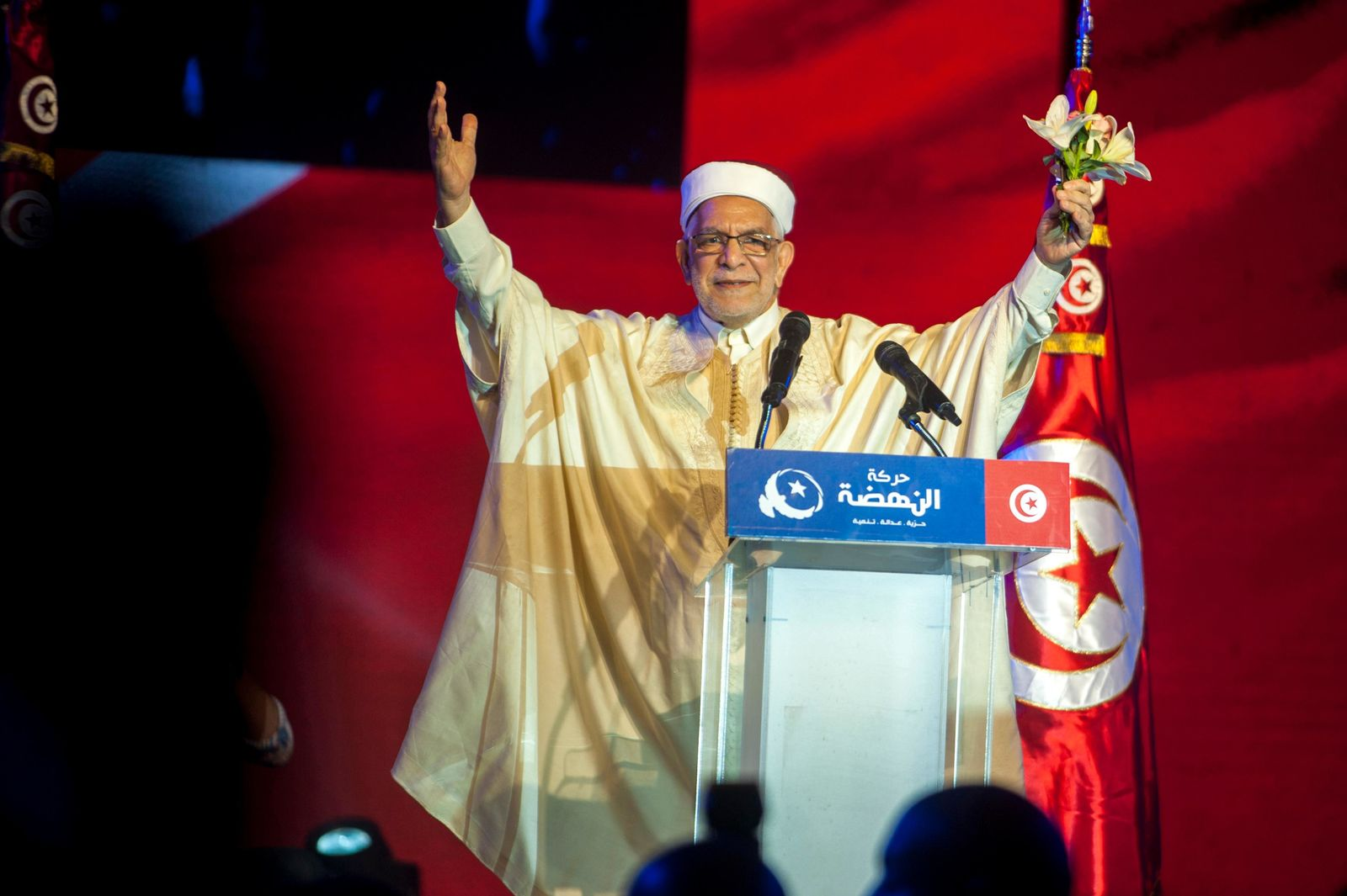 Vice President of the Islamist party Ennahda and candidate for the upcoming presidential elections Abdelfattah Mourou speaks during a meeting with the members of his party in Tunis, Tunisia, Friday, Aug. 30, 2019. (AP Photo/Hassene Dridi)