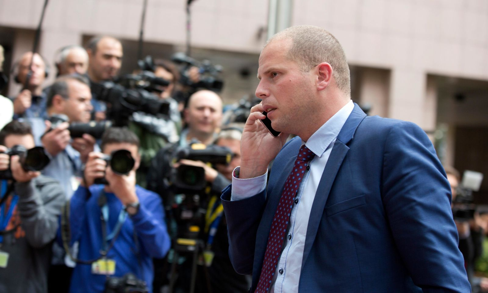 In this Monday, Sept. 14, 2015 file photo, Belgium's State Secretatry for Asylum Policy and Migration Theo Francken arrives for a meeting of EU justice and interior ministers at the EU Council building in Brussels. AP Photo/Virginia Mayo, File)