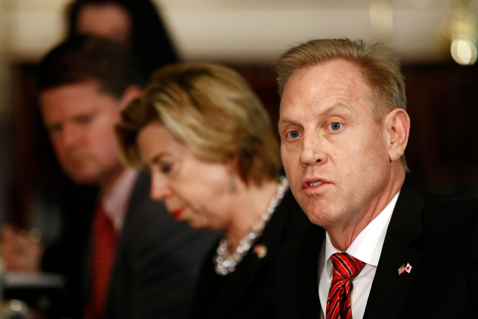 Acting Defense Secretary Patrick Shanahan speaks during a meeting with Japan's Defense Minister Takeshi Iwaya at the Pentagon, Friday, April 19, 2019, in Washington. (AP Photo/Patrick Semansky)