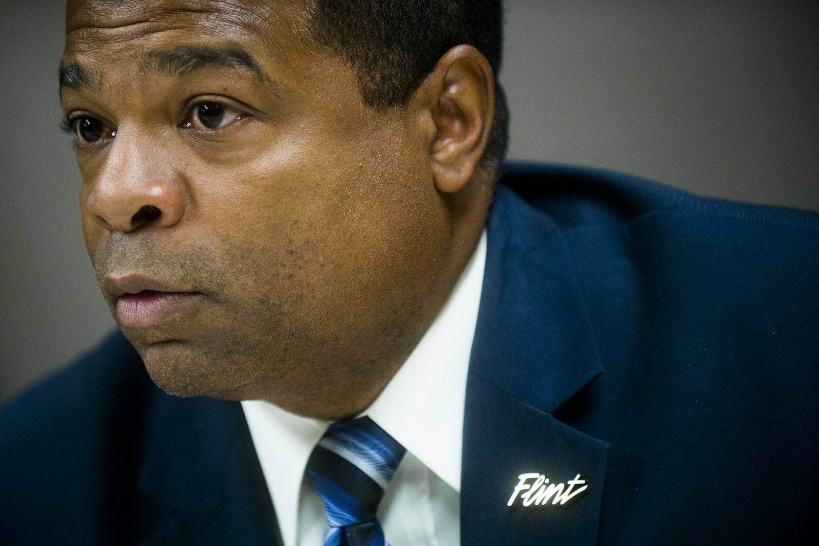 FILE - In this Oct. 12, 2015, file photo Flint, Mich., Director of Public Works Howard Croft speaks about the two-week target for switching Flint's water source back to Detroit during a news conference at City Hall in Flint, Mich.{ } (Jake May/The Flint Journal-MLive.com via AP, File)