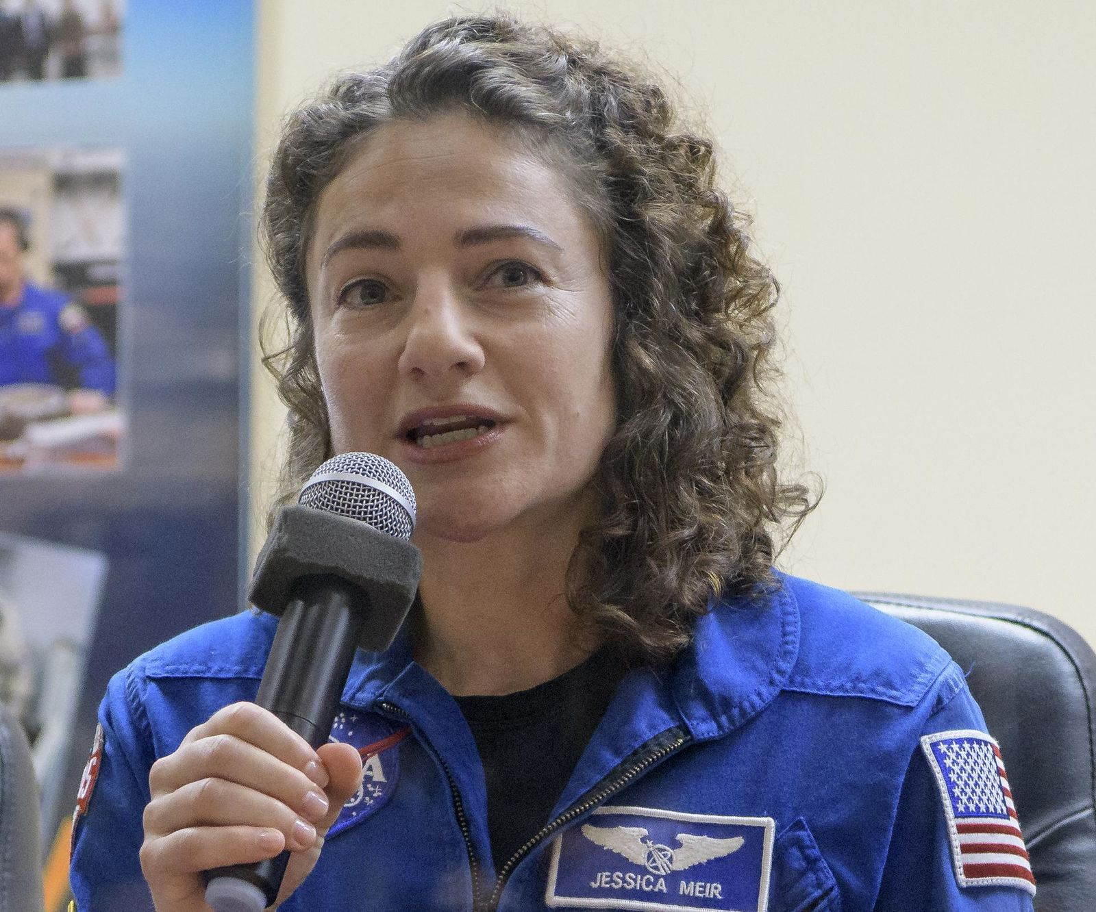 Expedition 61 astronaut Jessica Meir of NASA is seen during a press conference, Tuesday, Sept. 24, 2019 at the Cosmonaut Hotel in Baikonur, Kazakhstan. Meir, Expedition 61 cosmonaut Oleg Skripochka of Roscosmos and spaceflight participant Hazzaa Ali Almansoori of the United Arab Emirates will launch September 25th on the Soyuz MS-15 spacecraft from the Baikonur Cosmodrome to the International Space Station. Photo Credit: (NASA/Bill Ingalls)