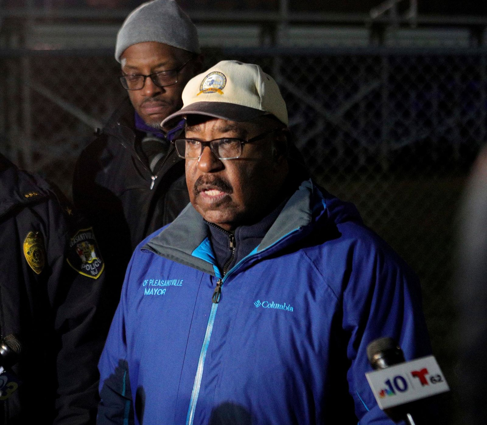 Pleasantville Mayor Jesse L. Tweedle Sr. holds a news conference after a shooting during a football game at Pleasantville High School in Pleasantville, N.J., Friday, Nov. 15, 2019. Players and spectators ran for cover Friday night when a gunman opened fire at the New Jersey high school football game. (Edward Lea/The Press of Atlantic City via AP)